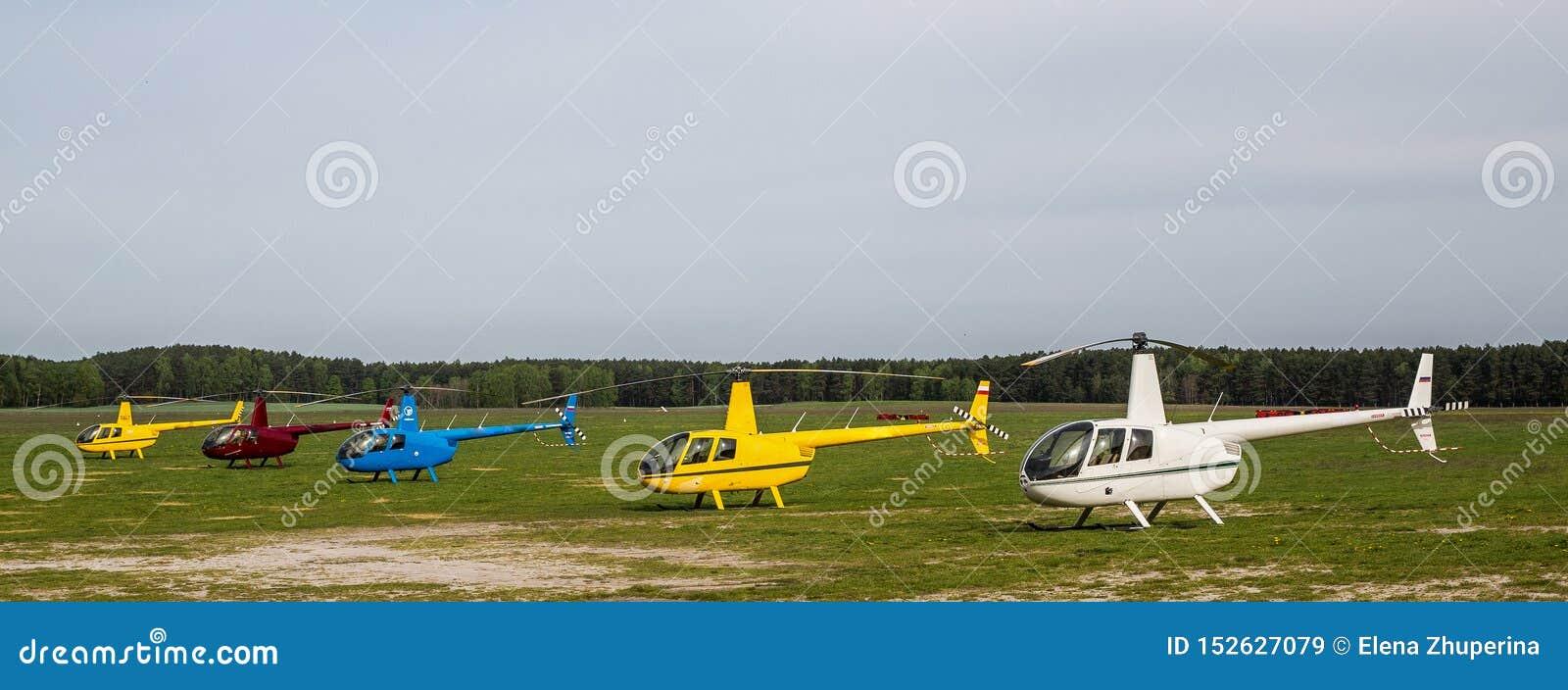 Cinco helicópteros multicolores en el campo del despegue