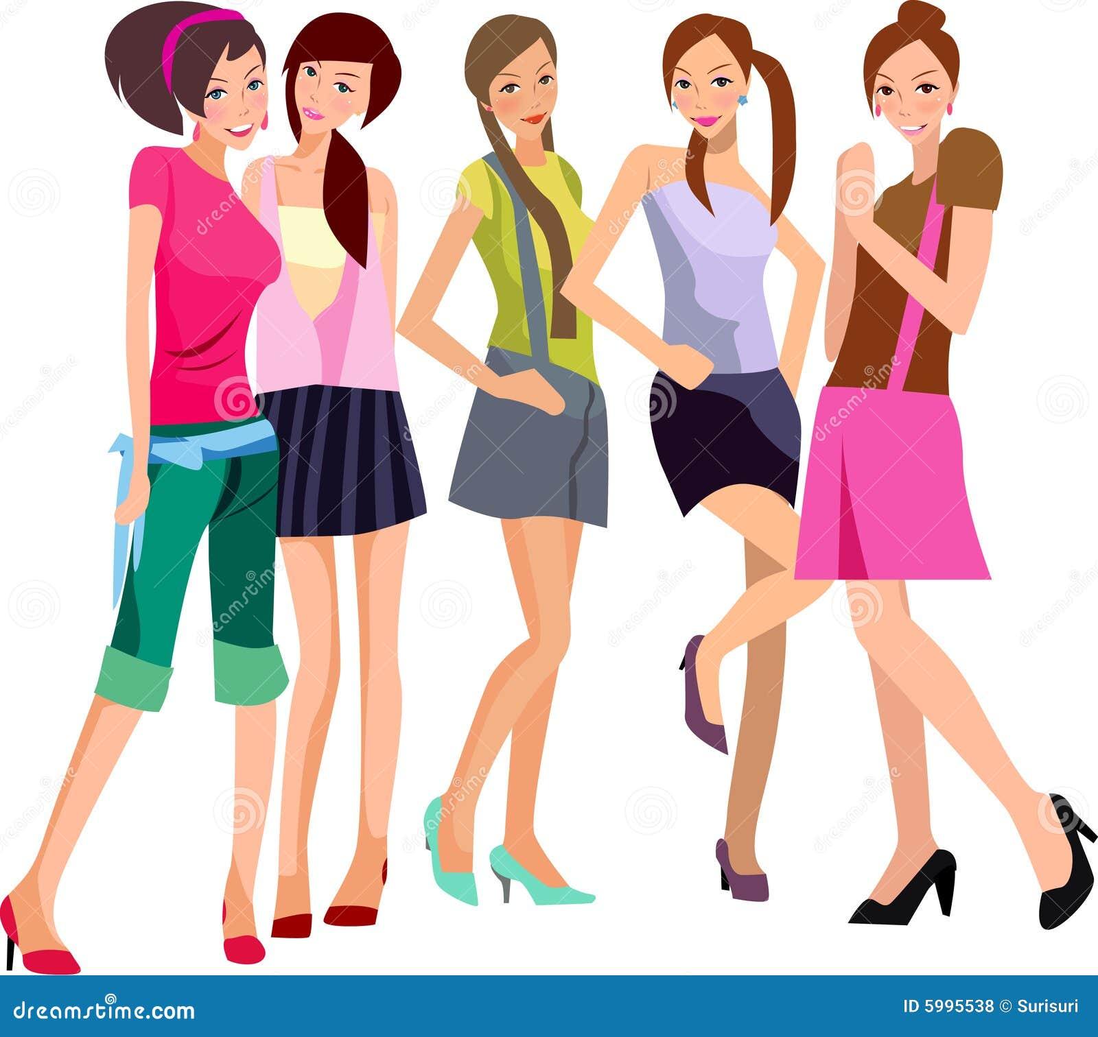 cinco meninas ilustra o do vetor ilustra o de esbo o 5995538. Black Bedroom Furniture Sets. Home Design Ideas