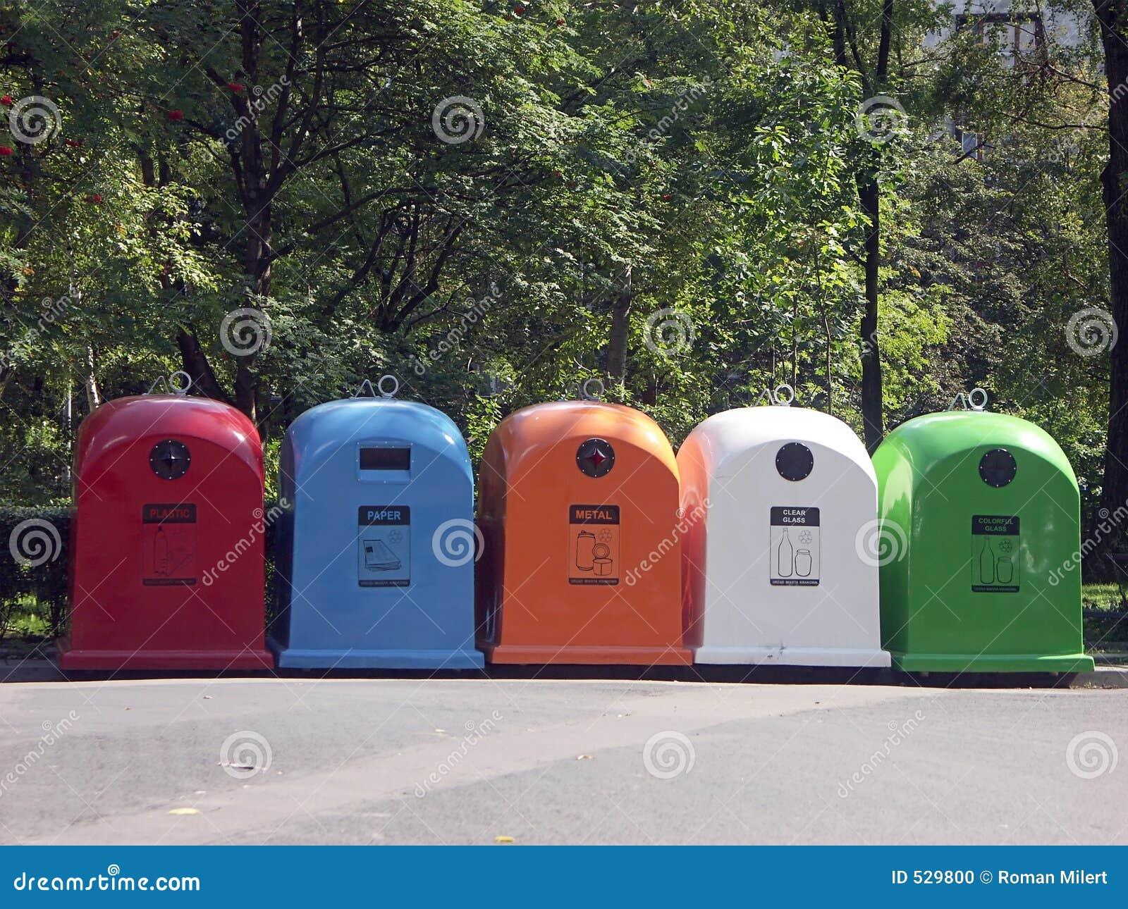Cinco recicl escaninhos