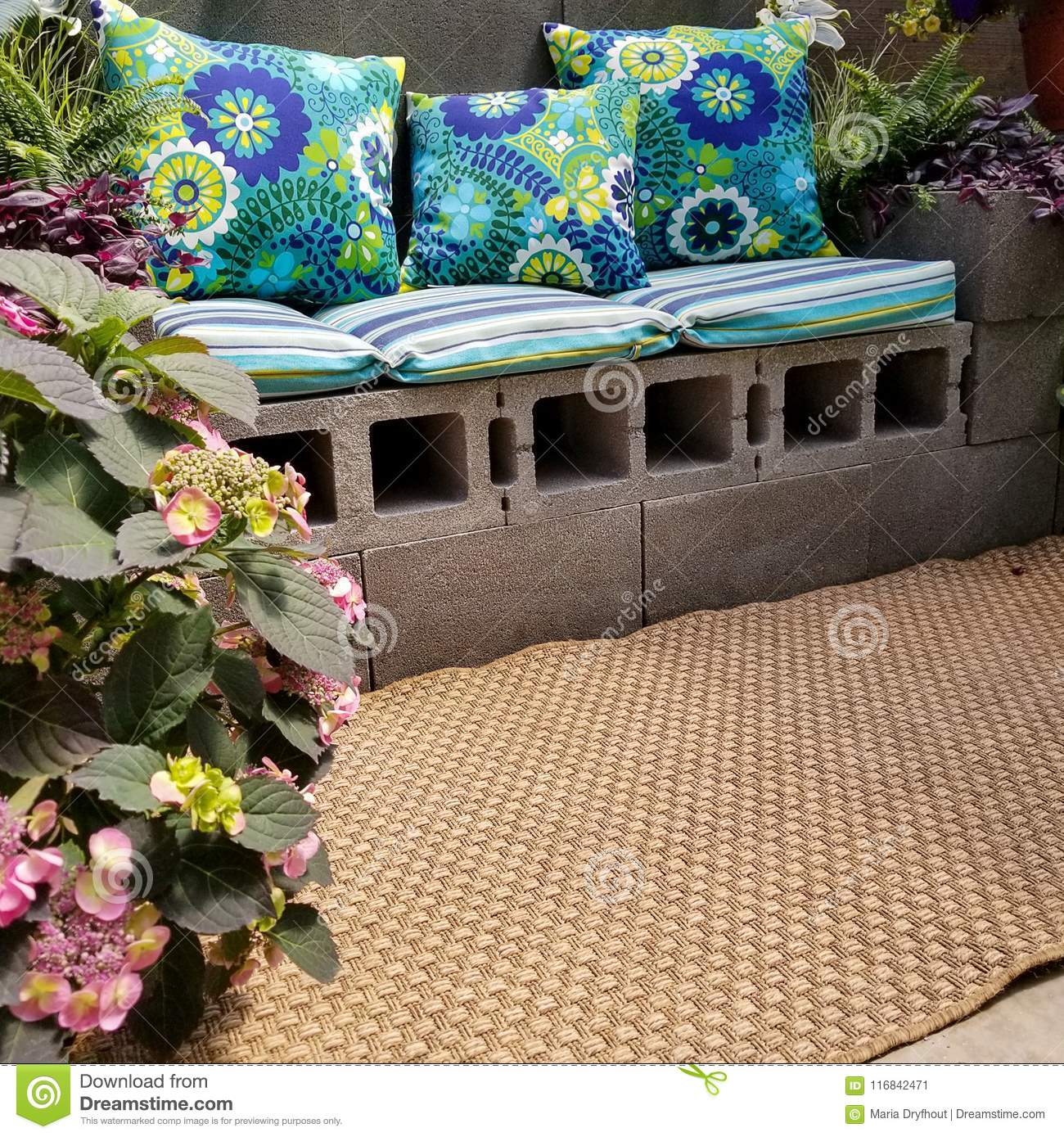 Cinder Block Patio Bench With Pillows