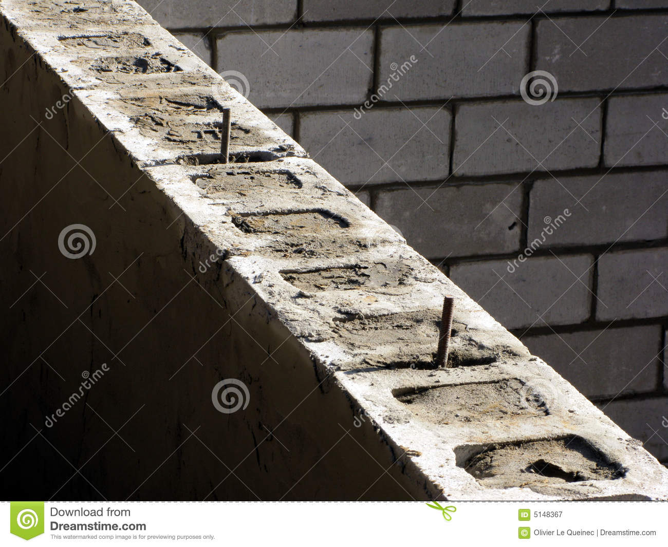Cinder blocks house concrete foundation wall stock image for Cinder block house construction
