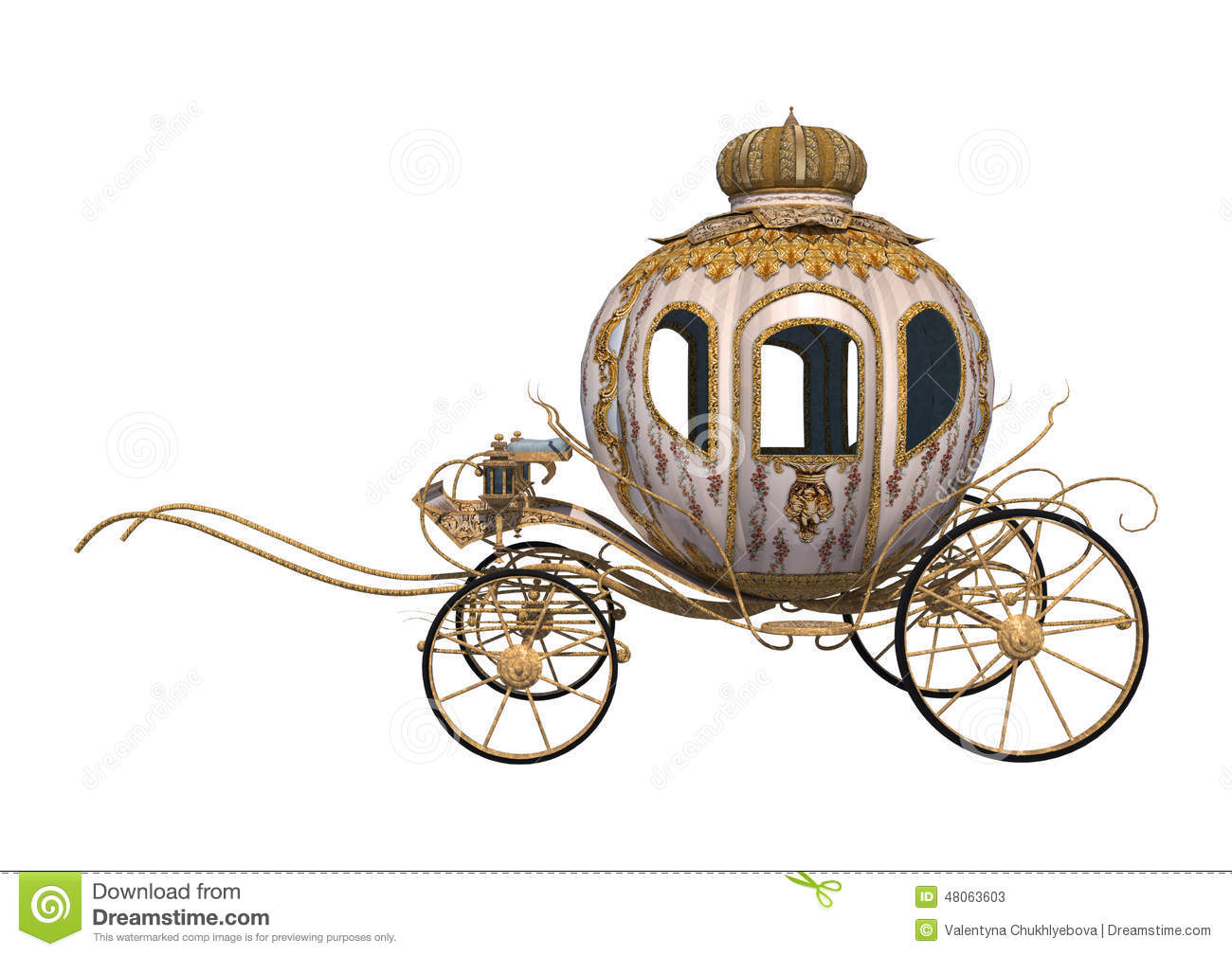 3D digital render of a fairytale Cinderella's carriage isolated on ...