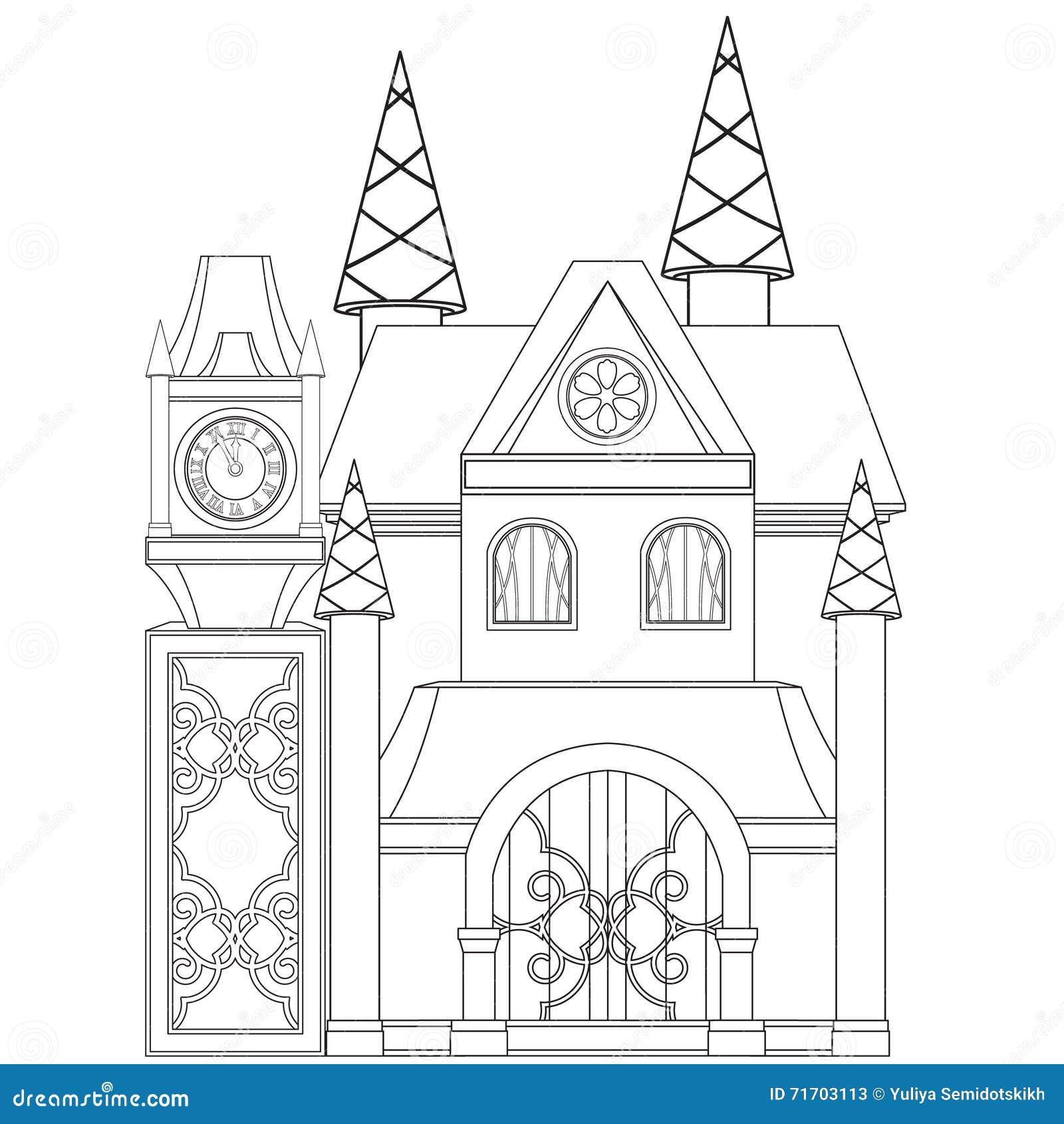 Cinderella Castle Coloring Book Page Stock Vector