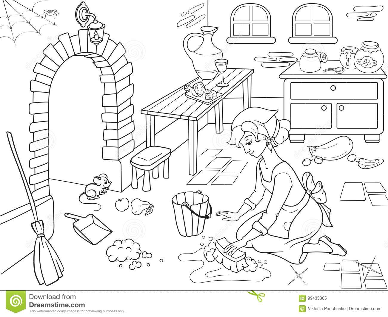 Coloring book kitchen - Royalty Free Vector