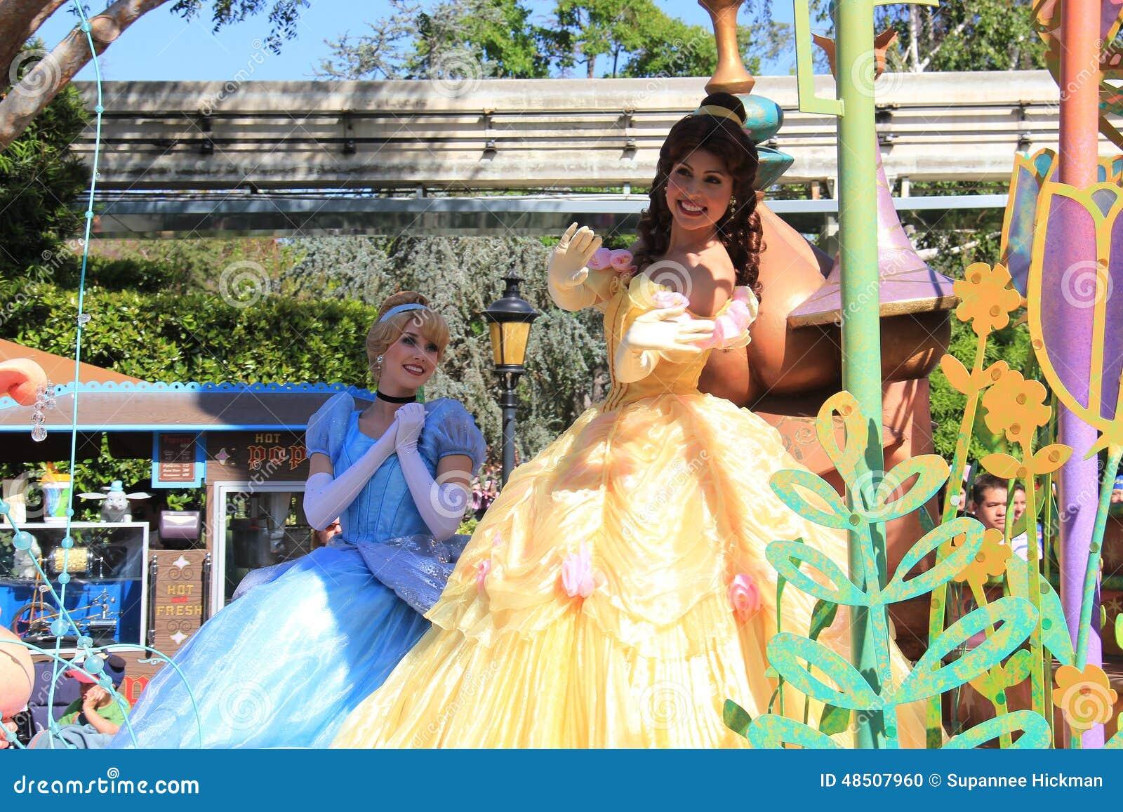 cinderella and princess belle at disneyland editorial