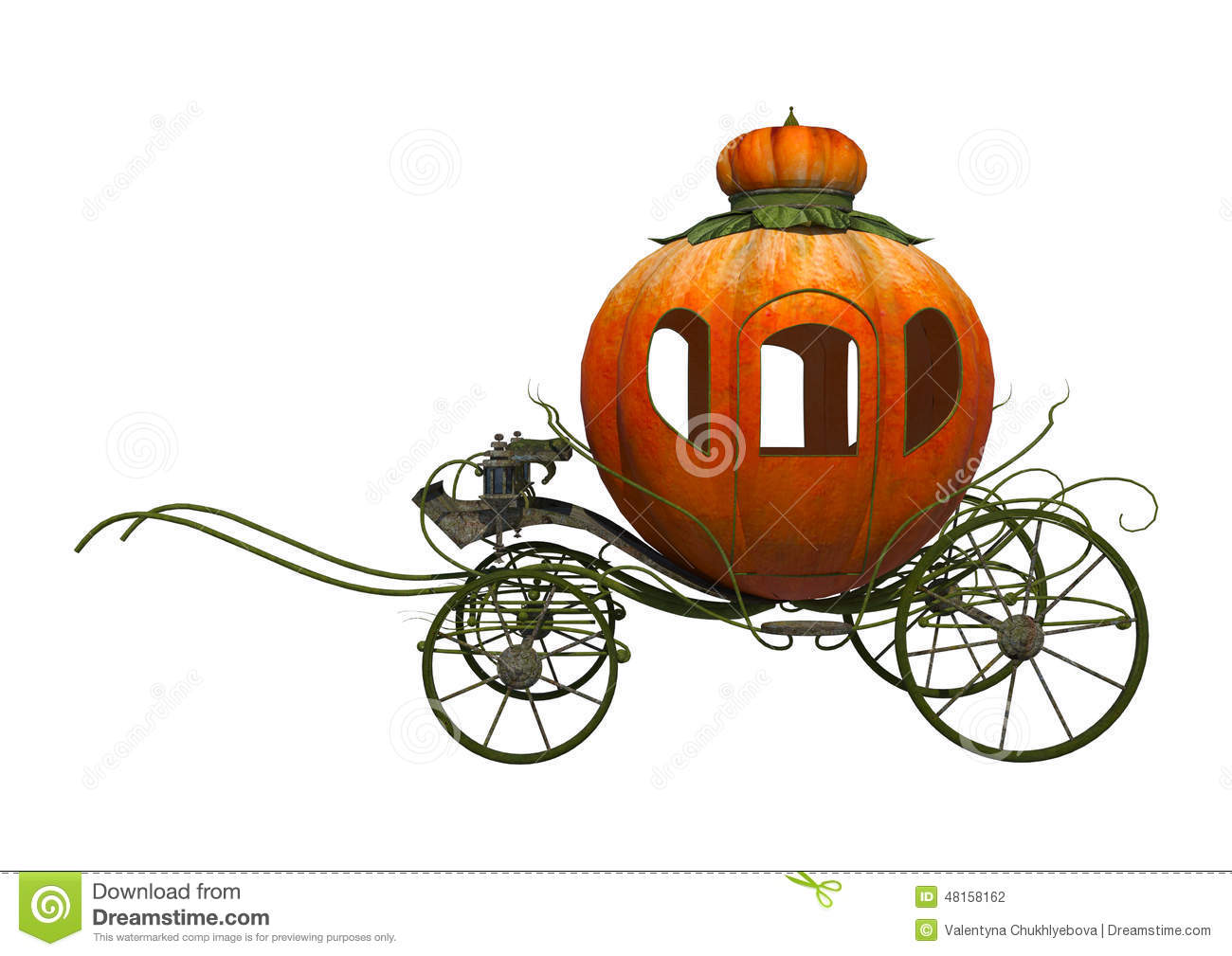 3D digital render of a fairytale Cinderella's pumpkin carriage ...