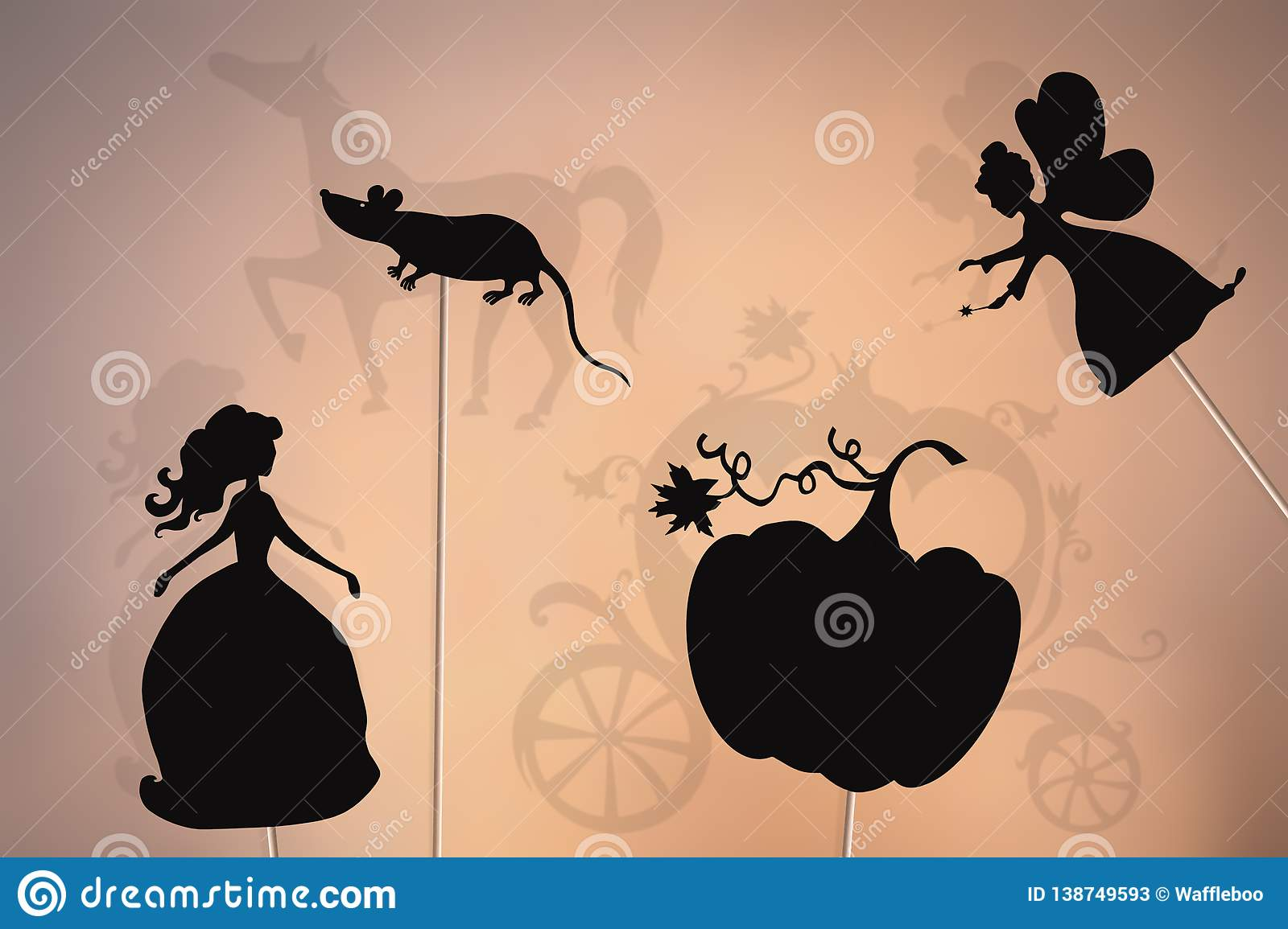 Cinderella Storytelling, Shadow Puppets Stock Illustration