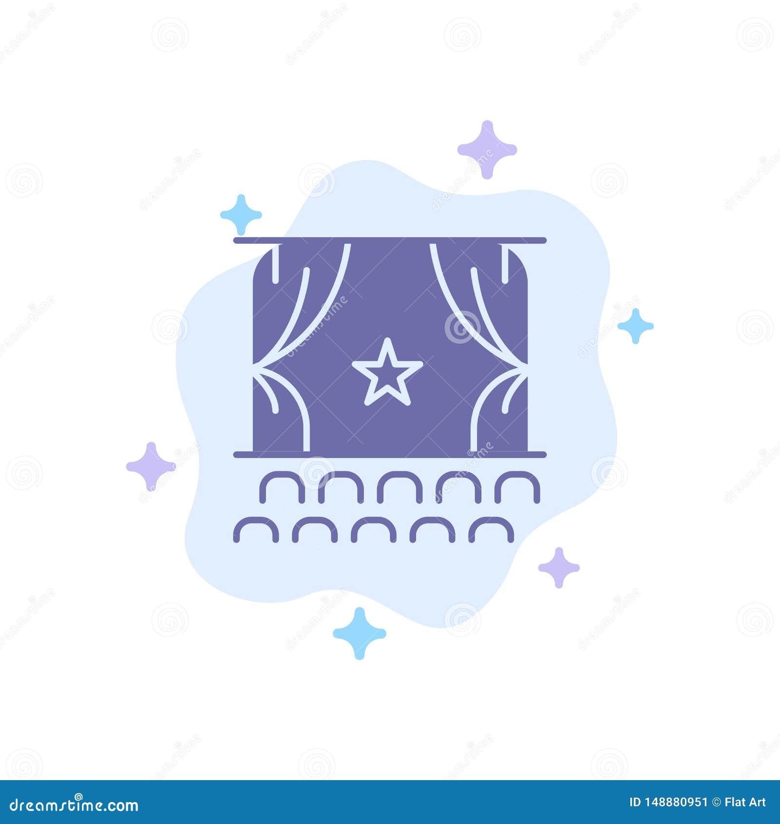 Cine, principio, película, funcionamiento, icono azul de la premier en fondo abstracto de la nube