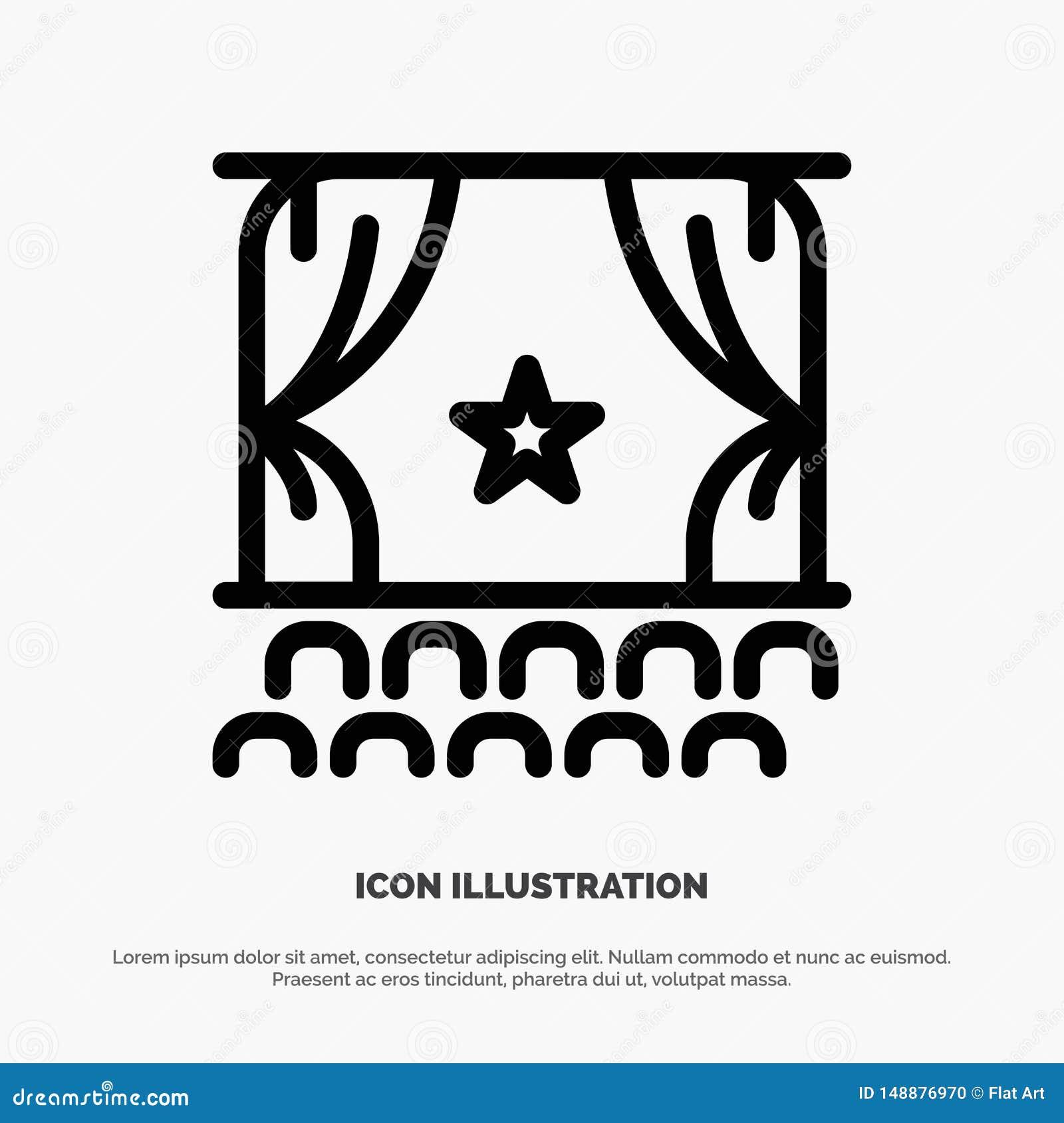 Cine, principio, película, funcionamiento, línea vector de la premier del icono