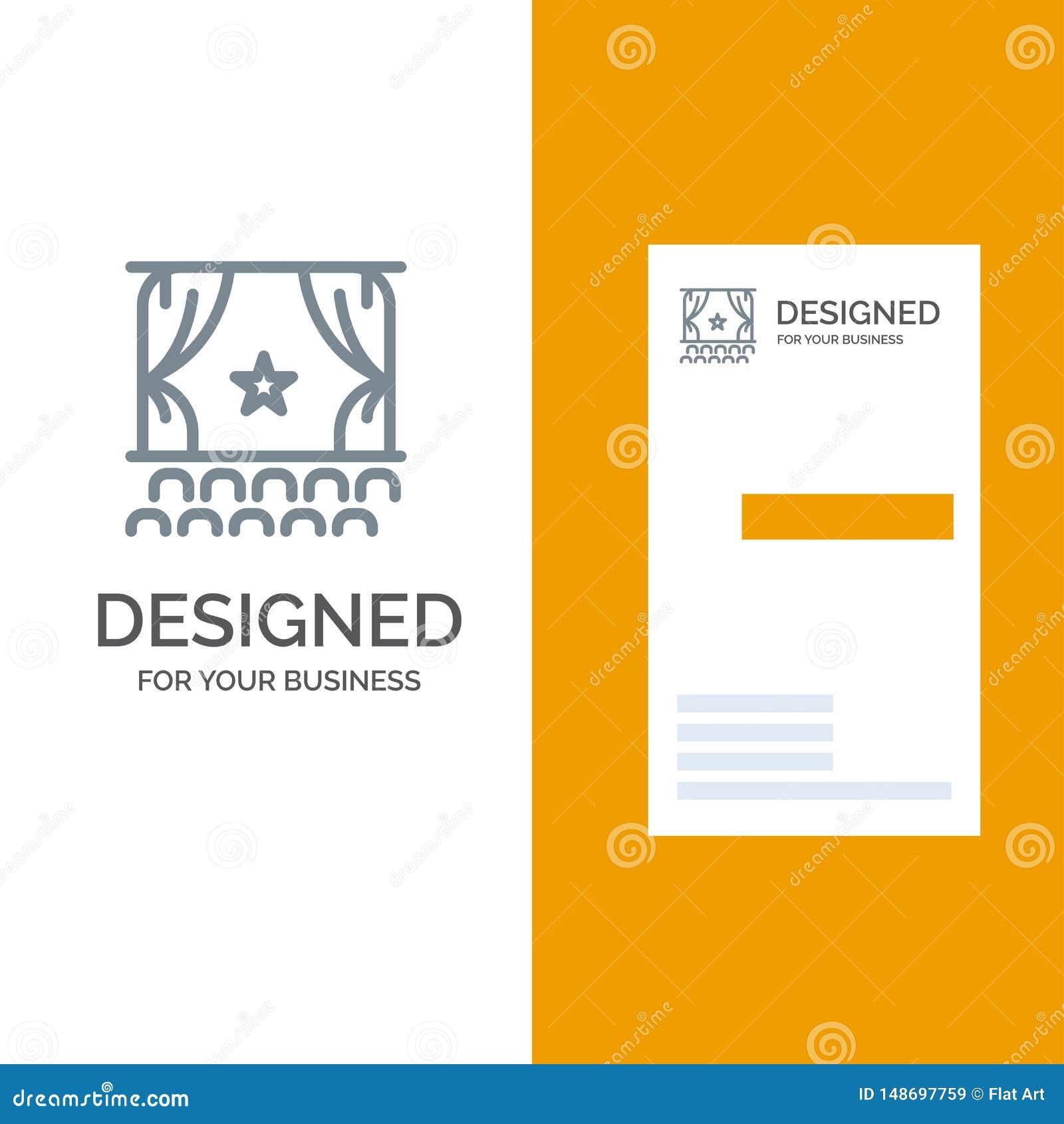 Cine, principio, película, funcionamiento, premier Grey Logo Design y plantilla de la tarjeta de visita