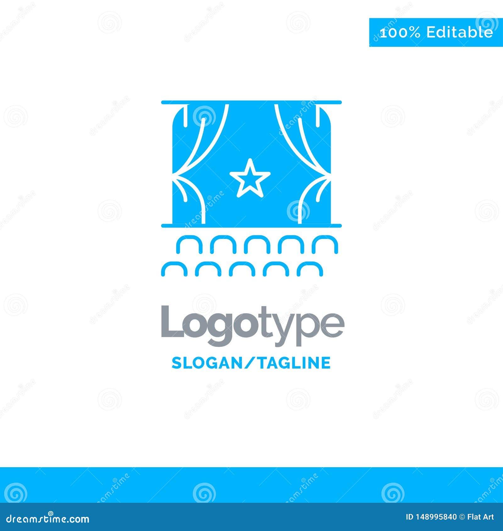 Cine, principio, película, funcionamiento, premier Logo Template sólido azul Lugar para el Tagline