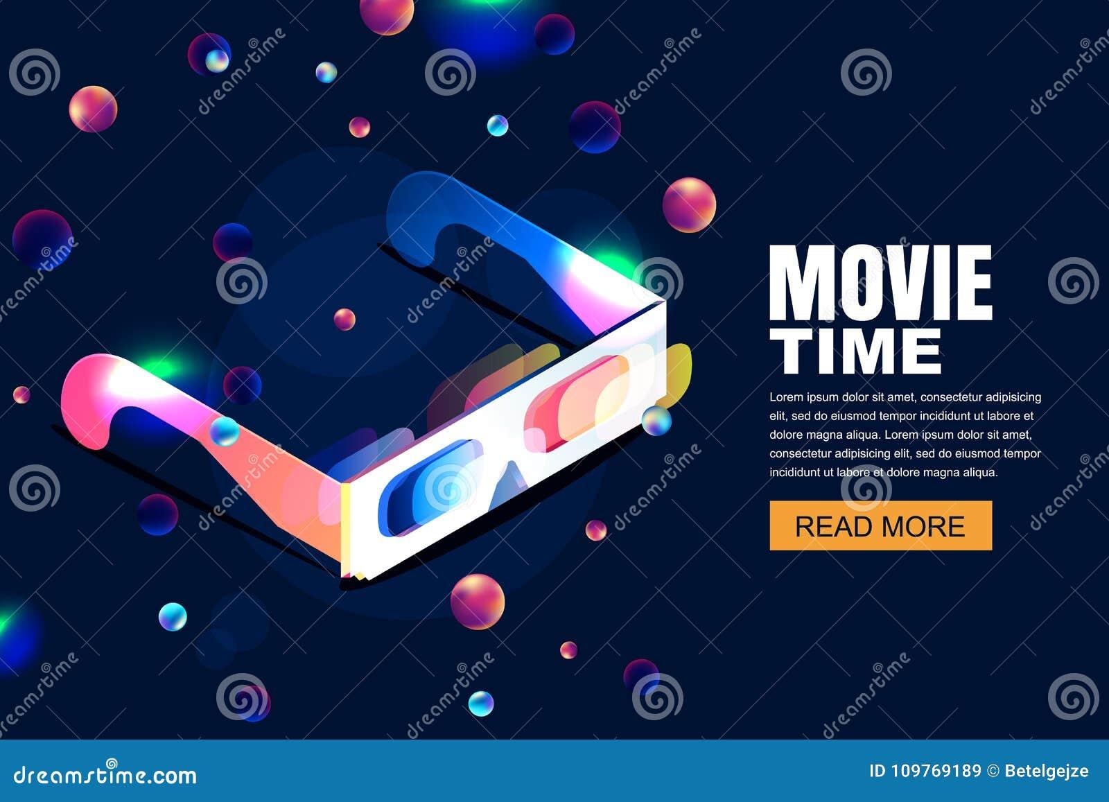 Cinema al neon d ardore di vettore, illustrazione di film vetri 3d nello stile isometrico sul fondo cosmico del cielo di notte as