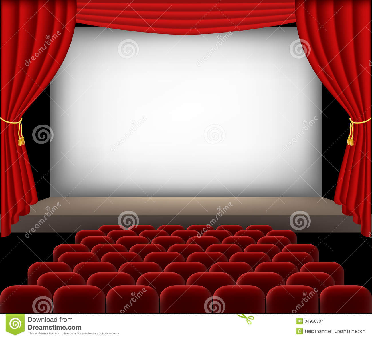 Cinema Auditorium With Red Seats And Curtains Royalty Free