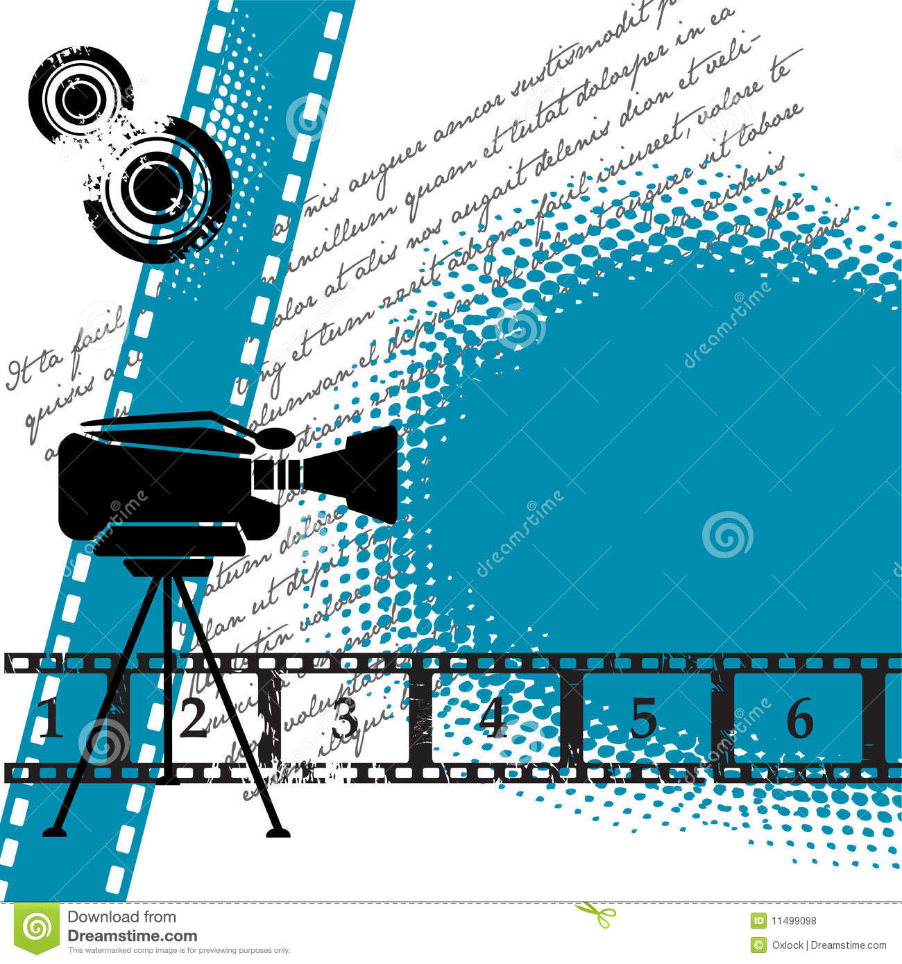 ... numbered filmstrip, grunge circles, and movie camera. Cinema theme Vintage Camera Backgrounds