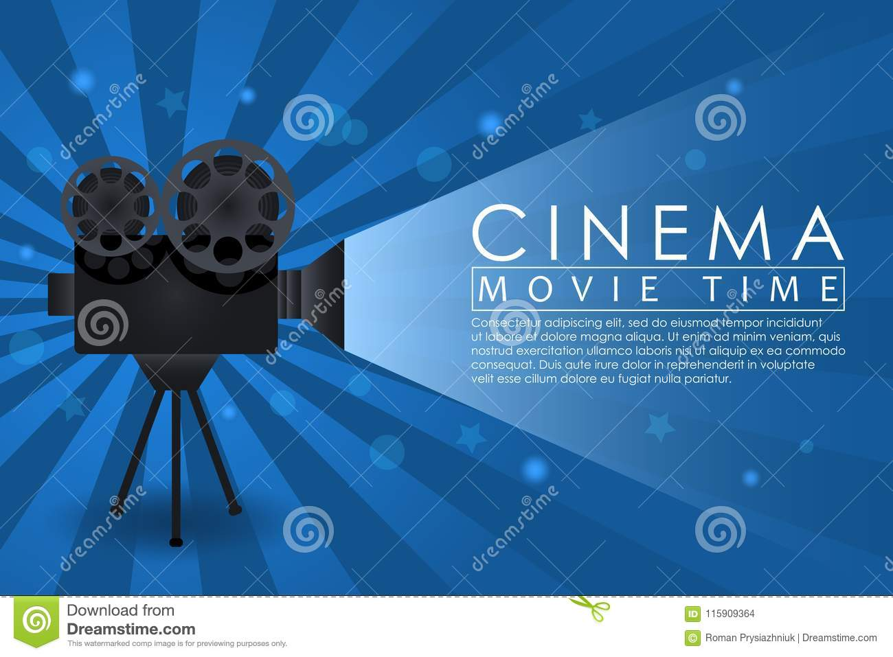 Cinema background, movie time banner with retro camera. Abstract advertising poster for cinema theatre or website. Vector.
