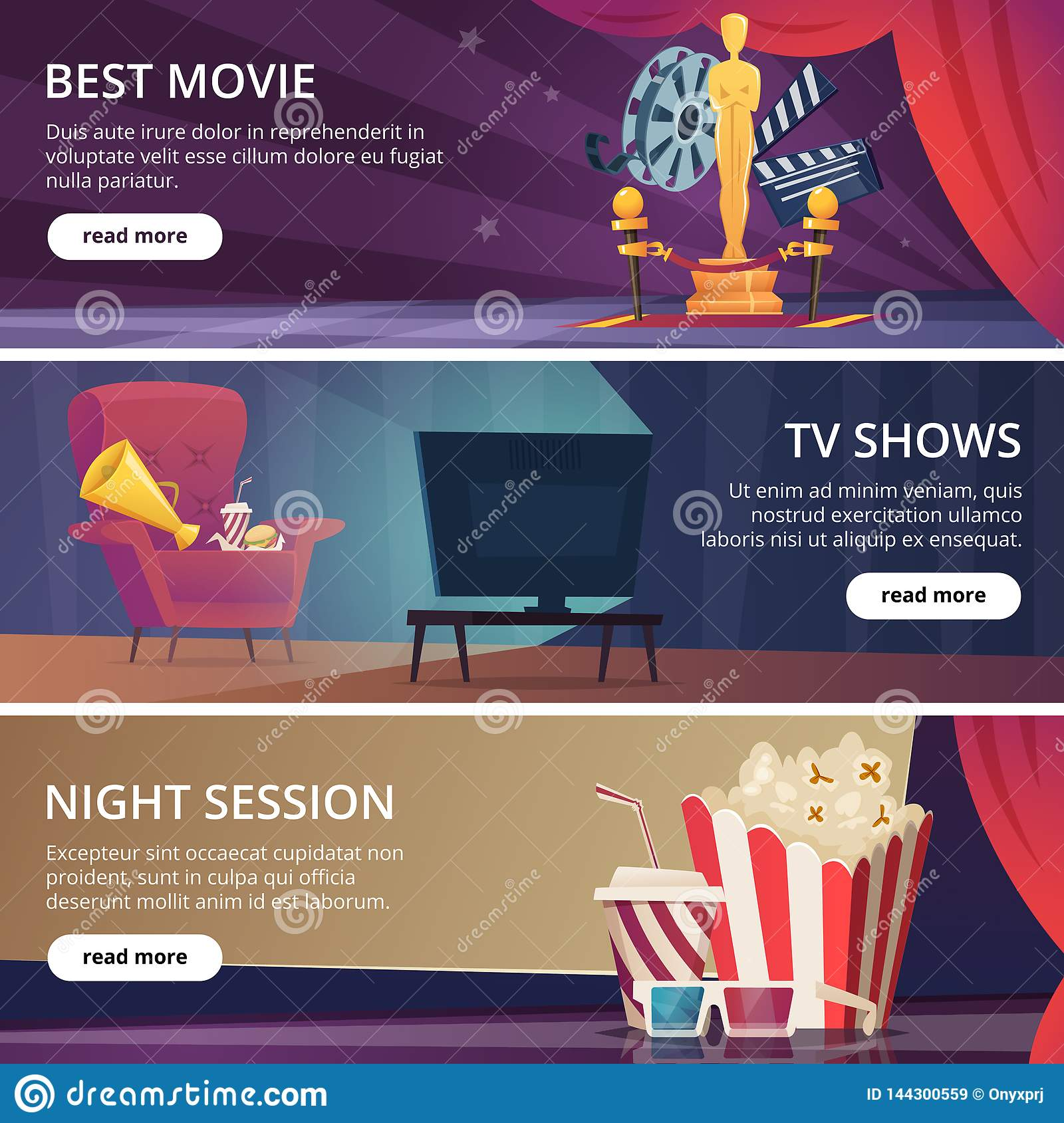 Cinema banners. Movie video and theater entertainment cartoon icons 3d glasses popcorn clapper megaphone vector design