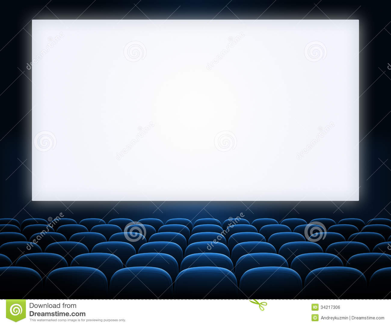 Cinema Blank Screen With Blue Seats Royalty Free Stock