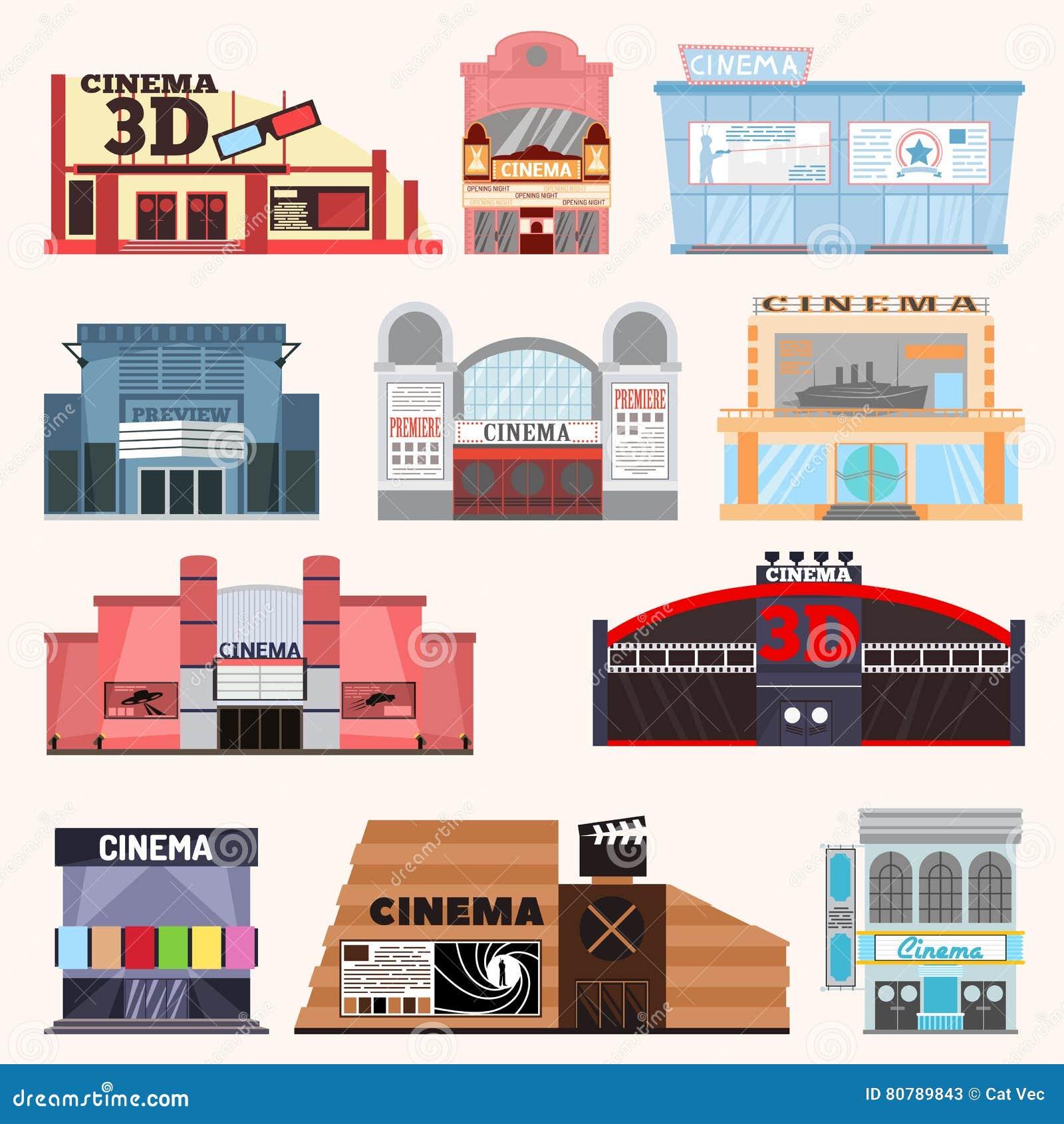 Cinema Building Vector Set Stock Vector Image 80789843