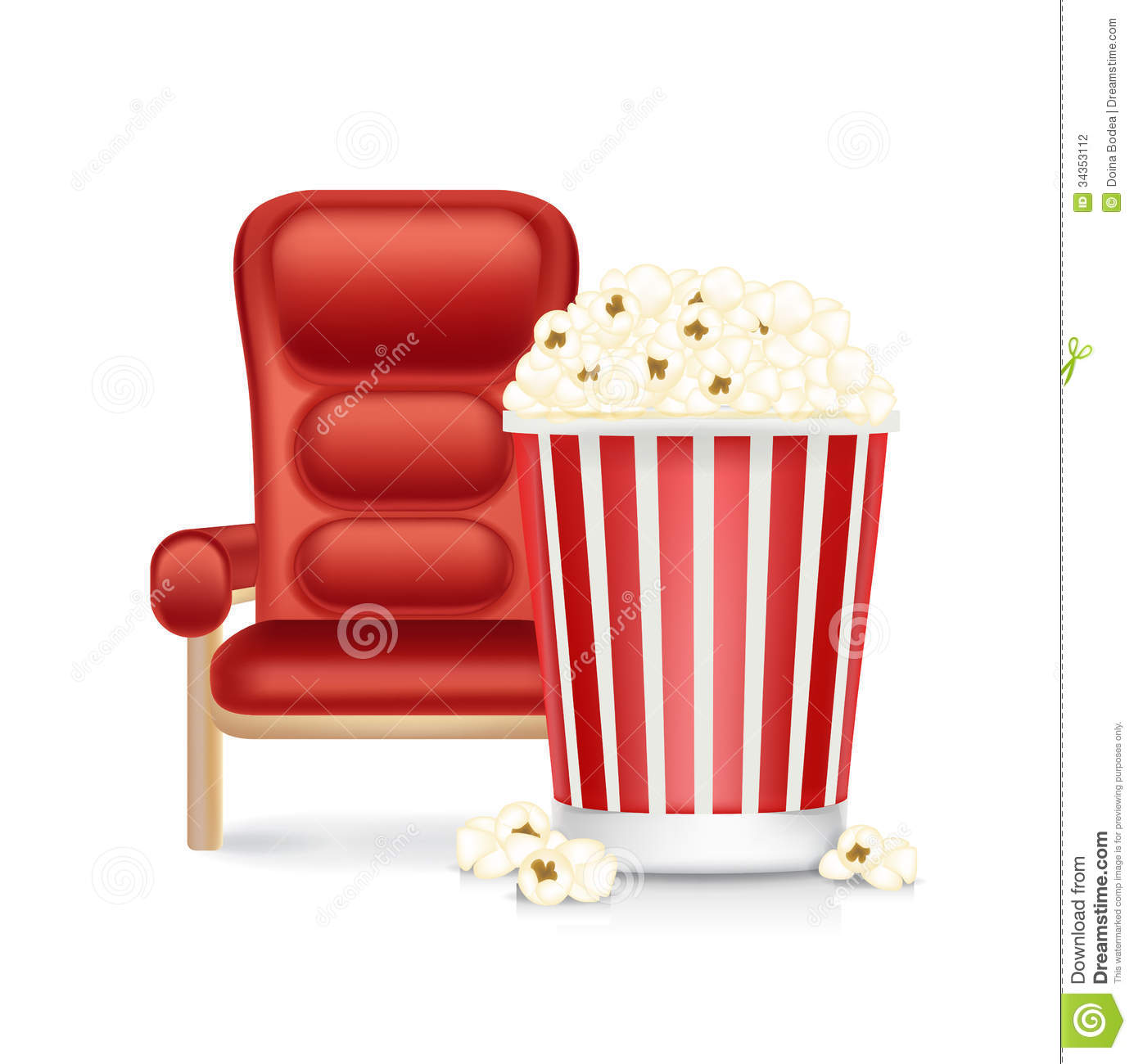 Cinema Chair And Popcorn Isolated On White Stock Photography Image 34353112