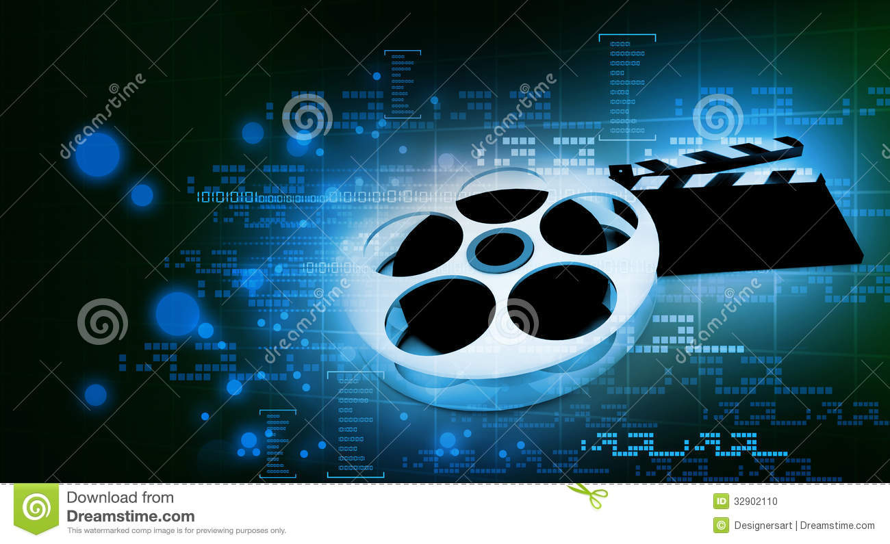 Cinema clap and film reel stock illustration. Illustration ...