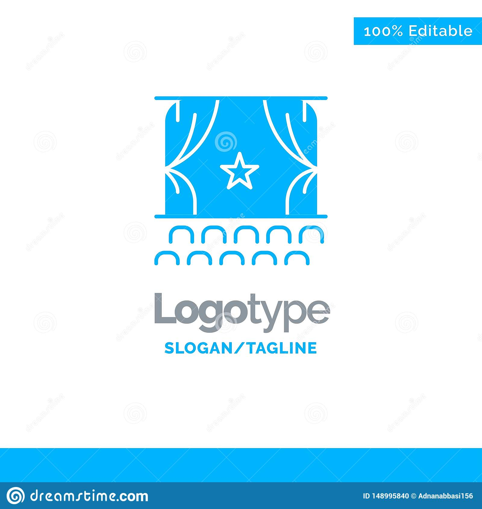Cinema, Debut, Film, Performance, Premiere Blue Solid Logo Template. Place for Tagline