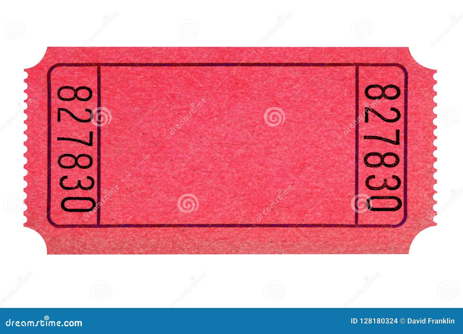 Cinema di tombola isolato biglietto rosso in bianco