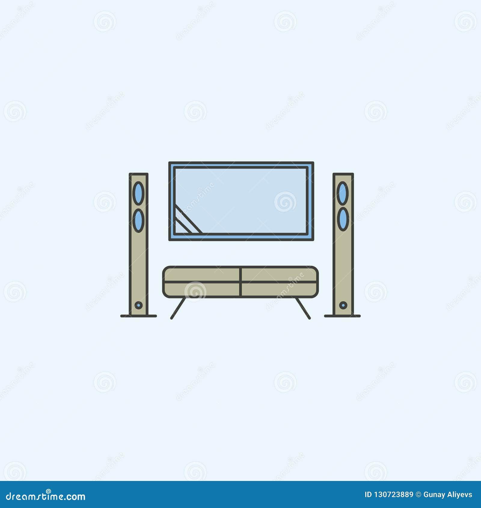 Cinema em casa, cinema no ícone liso Elemento do ícone da posse de casa para apps móveis do conceito e da Web Cinema em casa colo