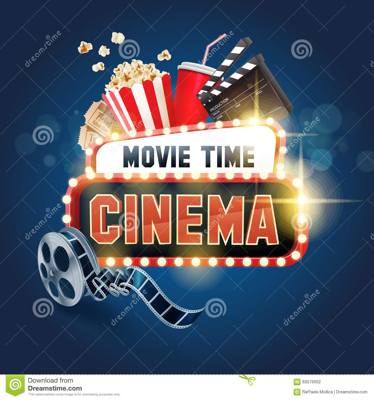 cinema ensign movie time stock vector image 60575002
