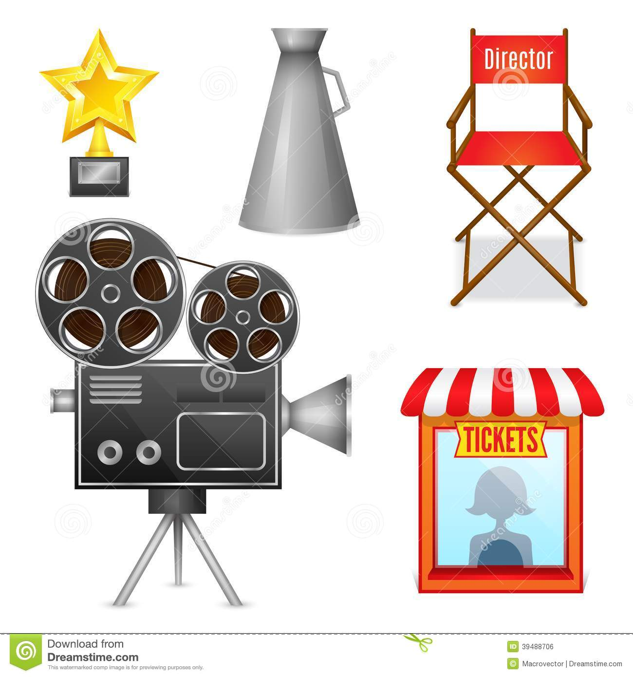 Cinema entertainment decorative icons stock vector image for Chair design elements