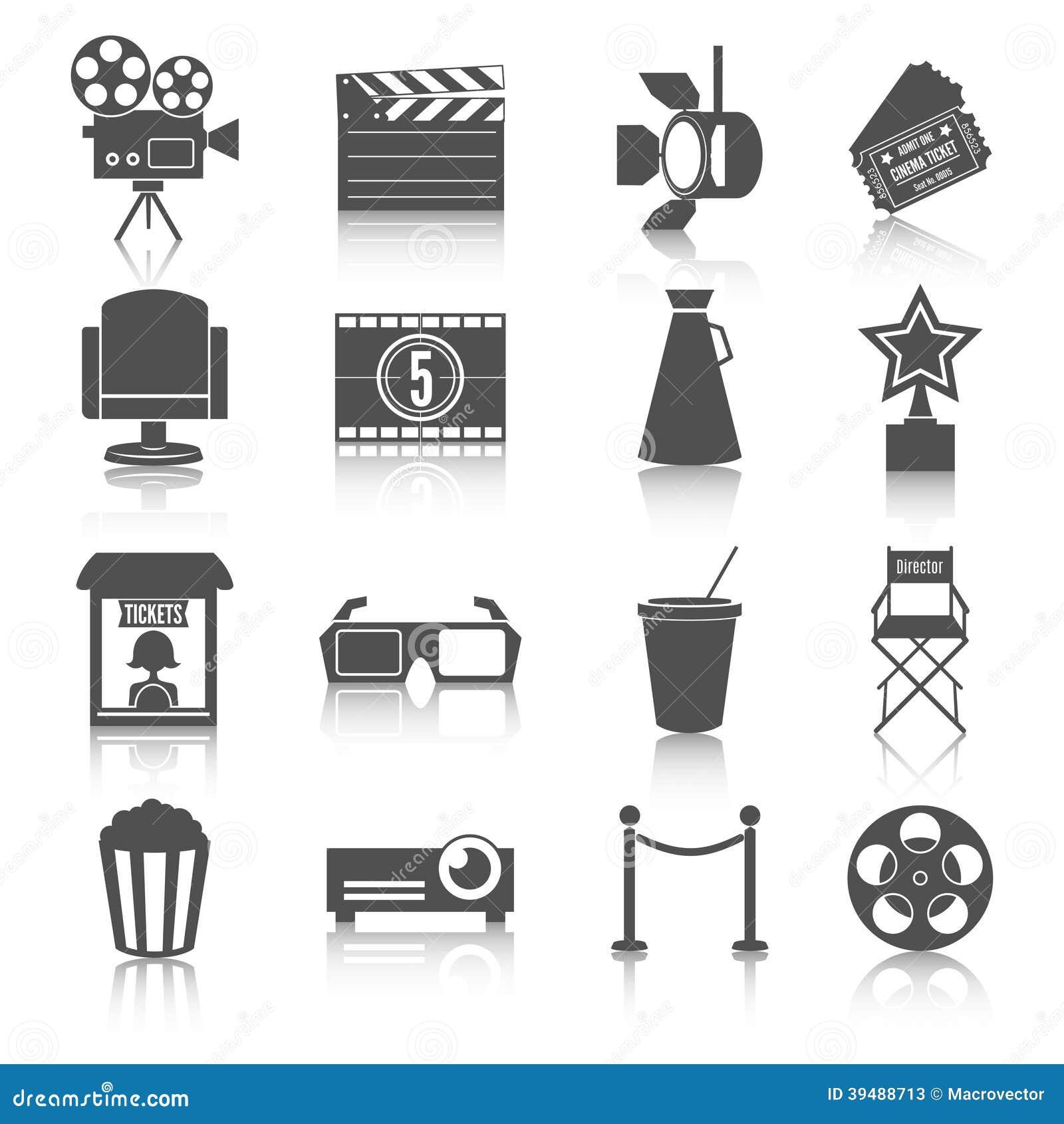 Cinema entertainment icons set of film popcorn movie tickets theatre