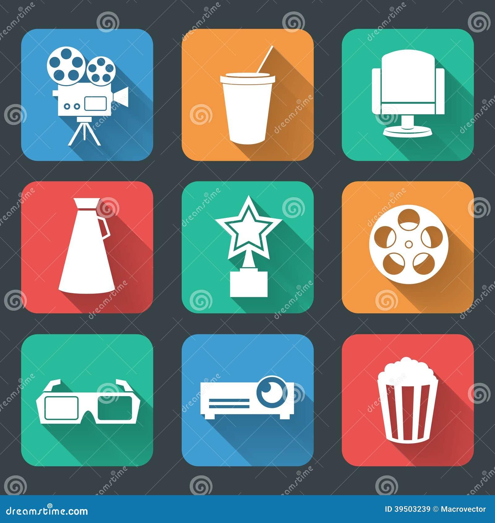 Cinema entertainment pictograms collection