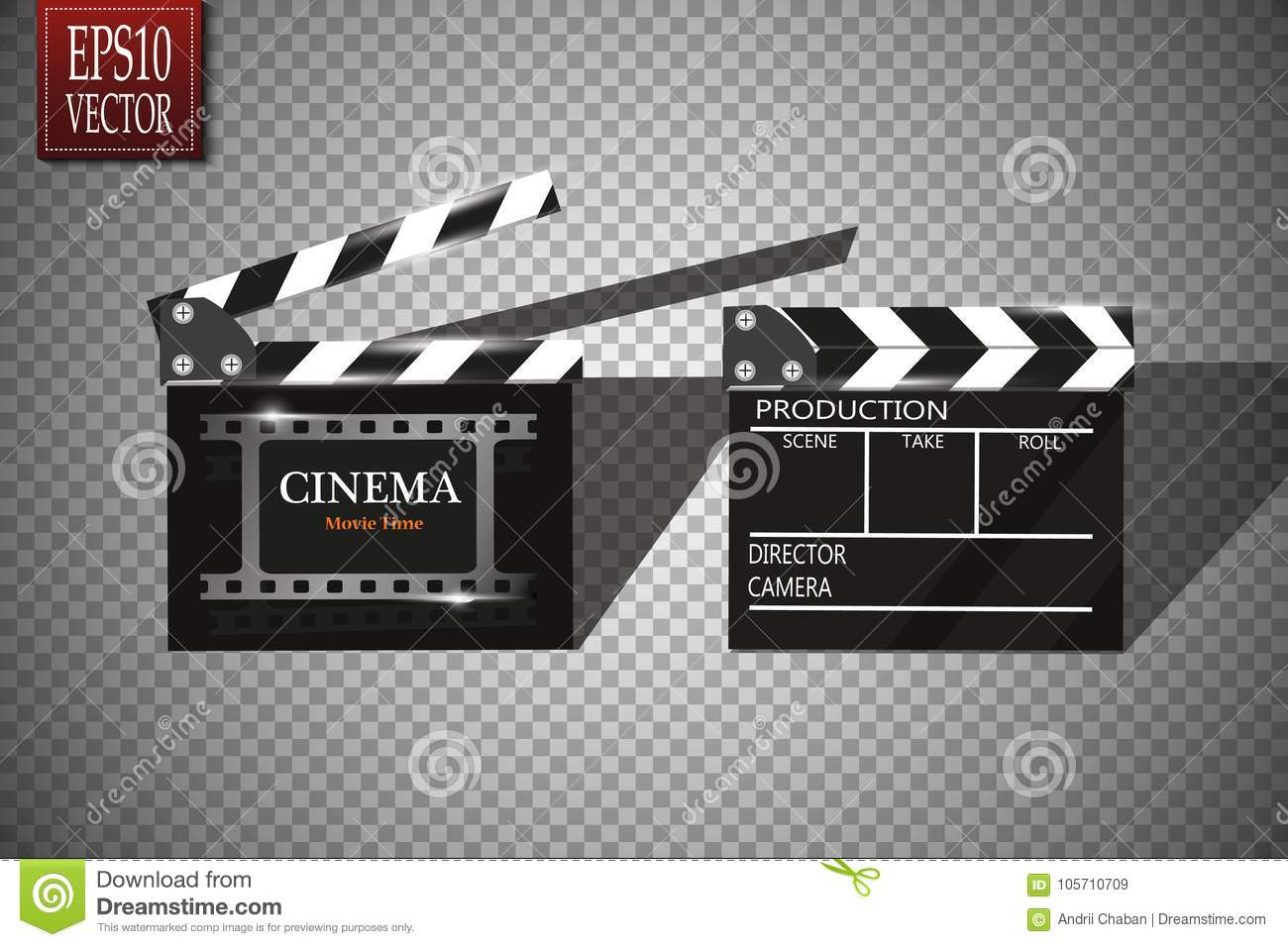 Cinema Festival Flyer Or Poster With Movie Reel And Clapper Board