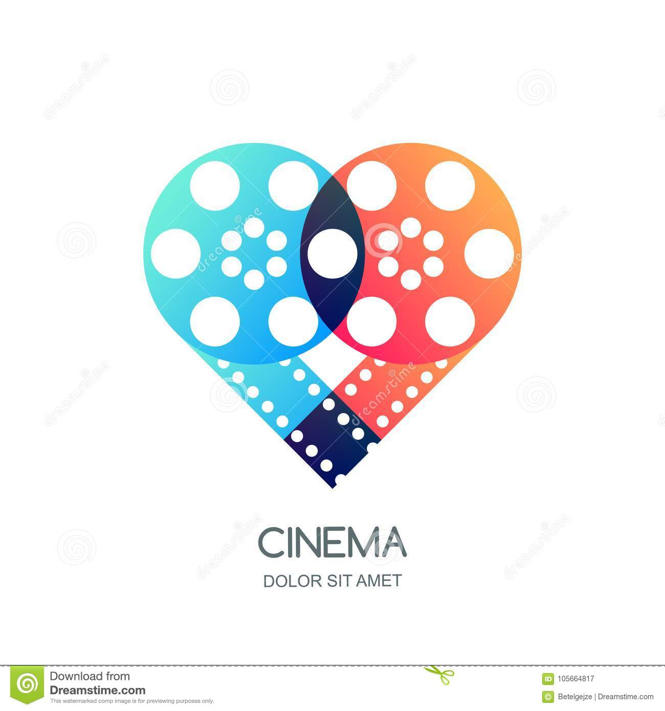 Cinema festival logo, icon, emblem design. Overlapping film reel and filmstrip in heart shape. Video like symbol