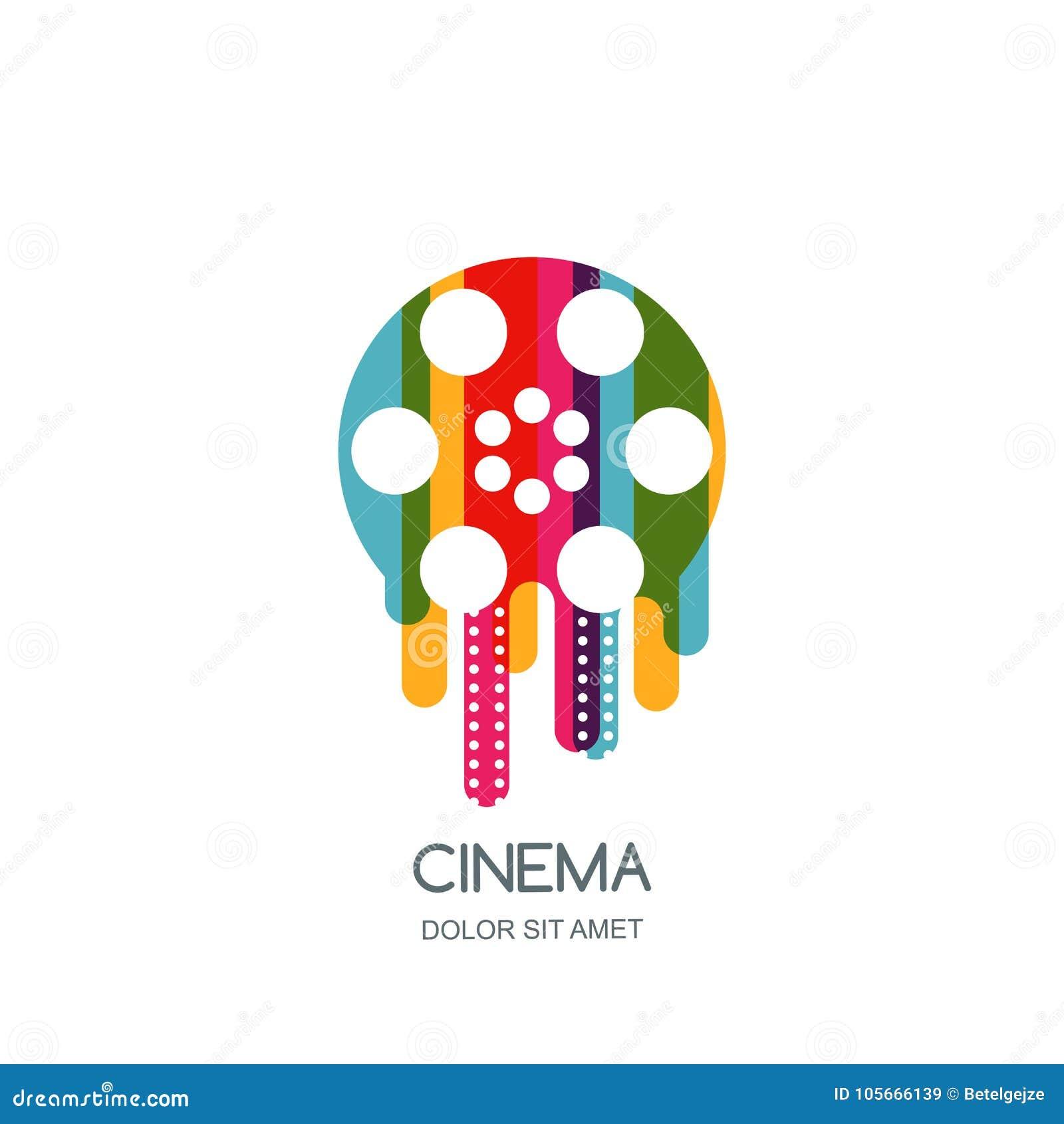 Cinema festival logo, icon, emblem design template. Colorful liquid film reel and filmstrip. Movie time concept