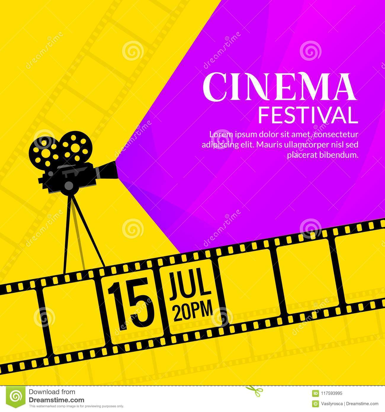 Download Cinema Festival Poster Template Film Or Movie Flyer Design Background Stock Vector