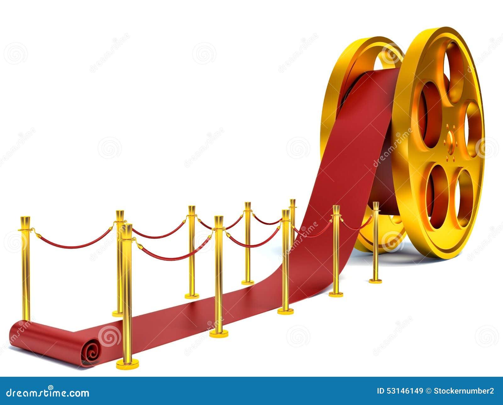 Cinema Film Roll And Red Carpet 3d Illustration Stock
