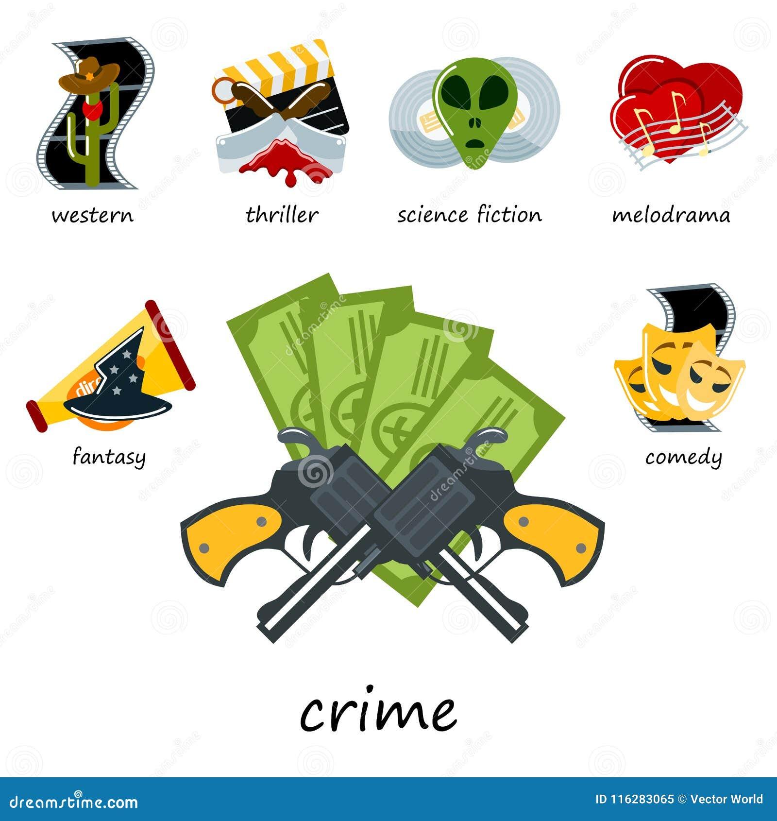 Cinema genre icons set cinematography flat entertainment comedy drama thriller movie production symbol vector