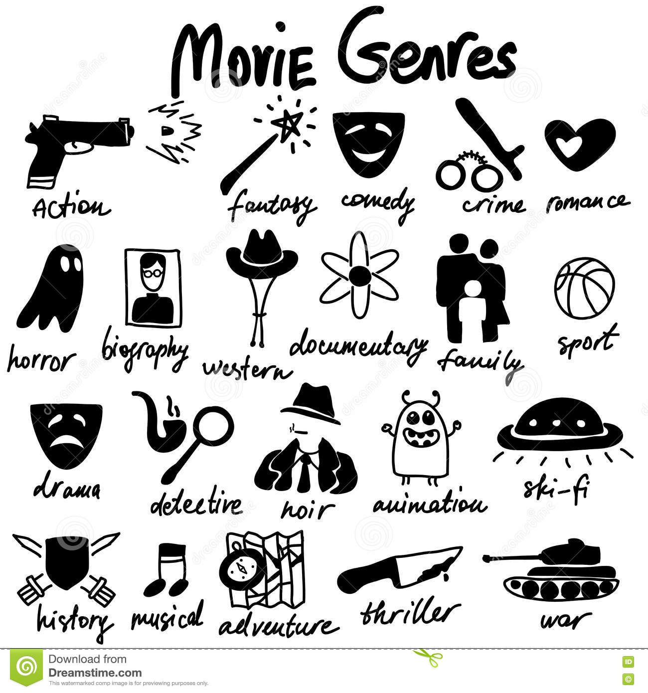 Genre: Cinema Genre Icon Set Stock Photography