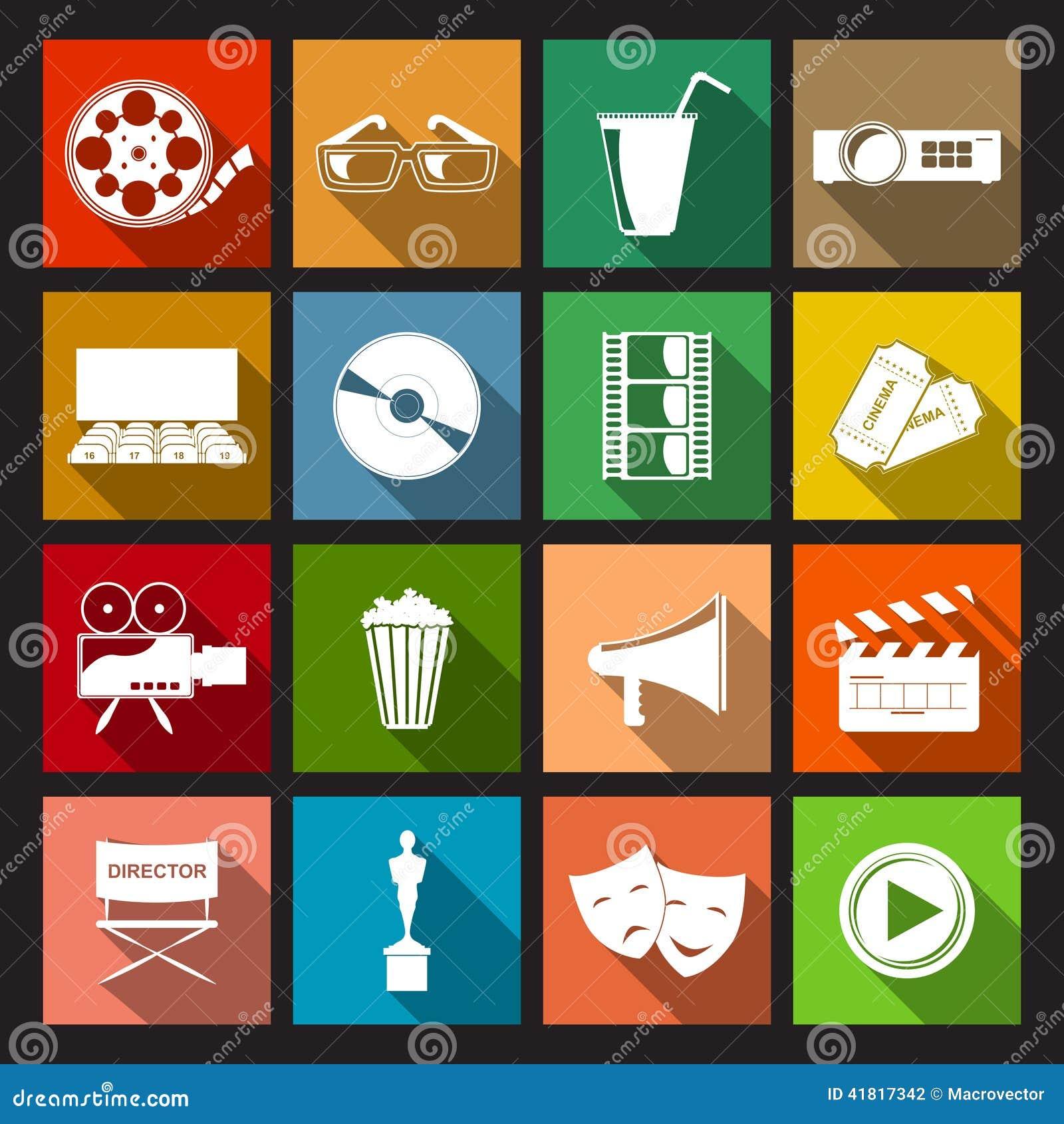 Cinema Icons Flat Stock Vector - Image: 41817342