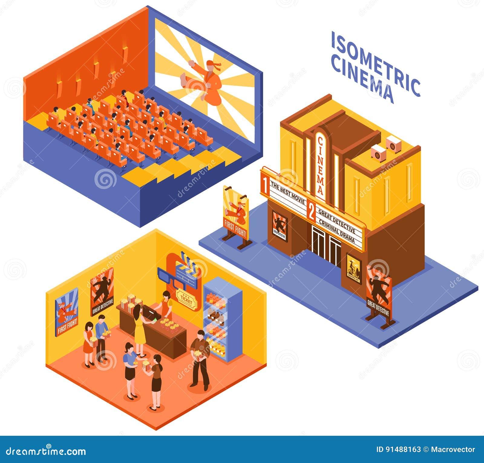 Virtual 3d Home Design Online Cinema Isometric Compositions Set Cartoon Vector