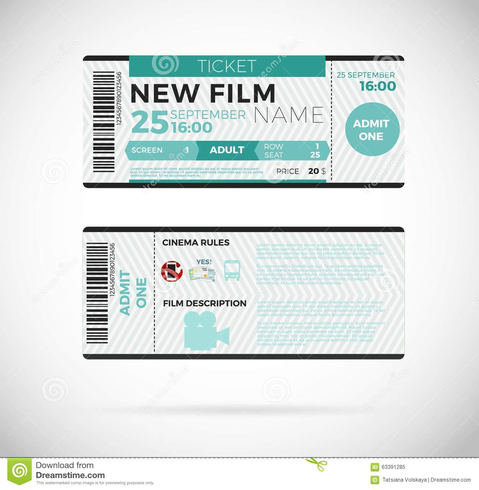 Cinema Modern Ticket Design Vector Illustration 10 Eps