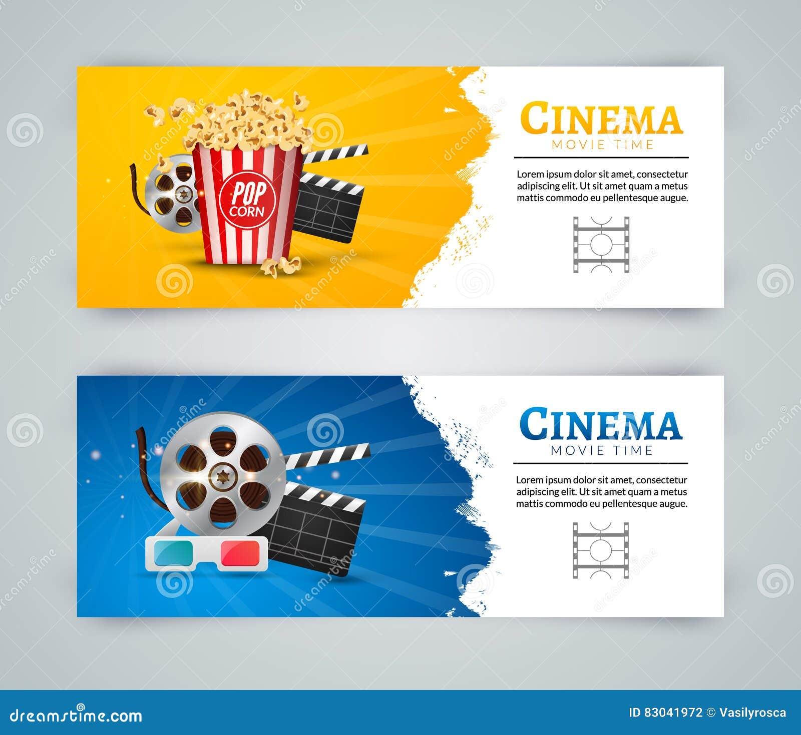 Poster design template - Cinema Movie Banner Poster Design Template Film Clapper 3d Glasses Popcorn Cinema Banner Layout