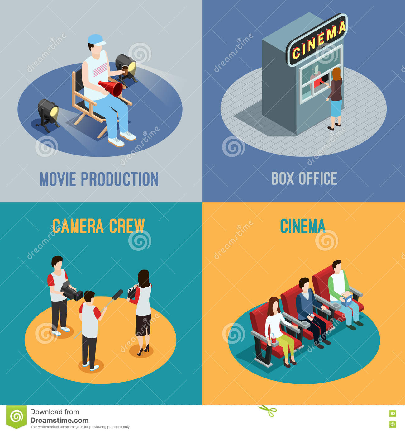 Cinema Movie 4 Isometric Icons Square Stock Vector Illustration Of
