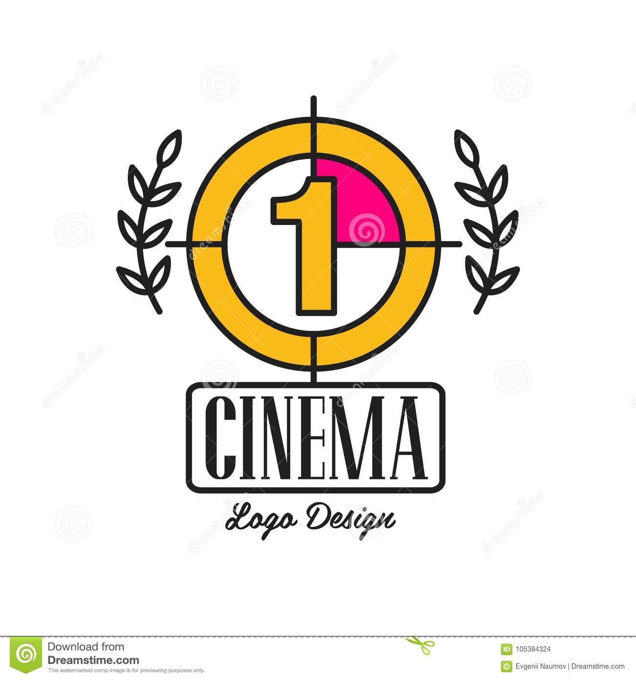 Cinema or movie logo template creative design with old retro filmstrip countdown, number one and laurel branches. Flat
