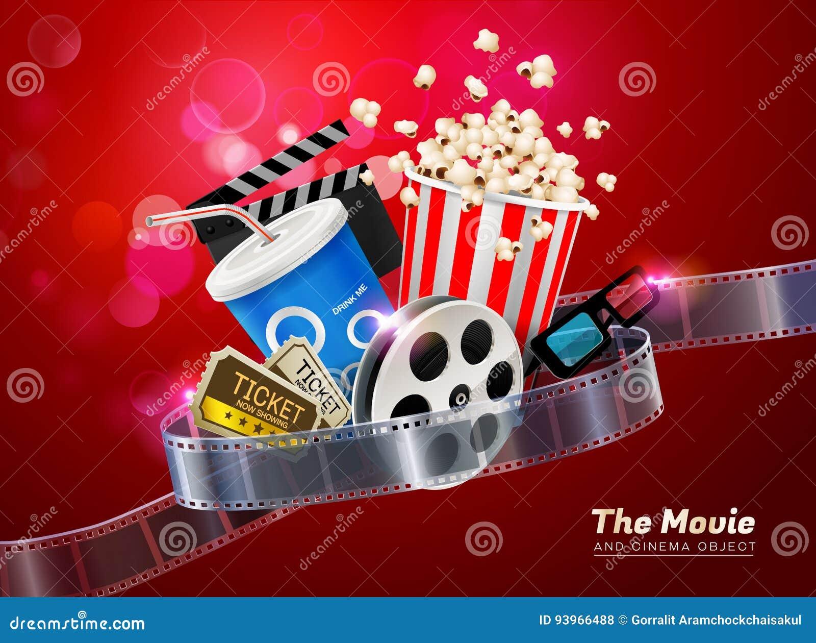 Cinema movie theater object on sparkling light background