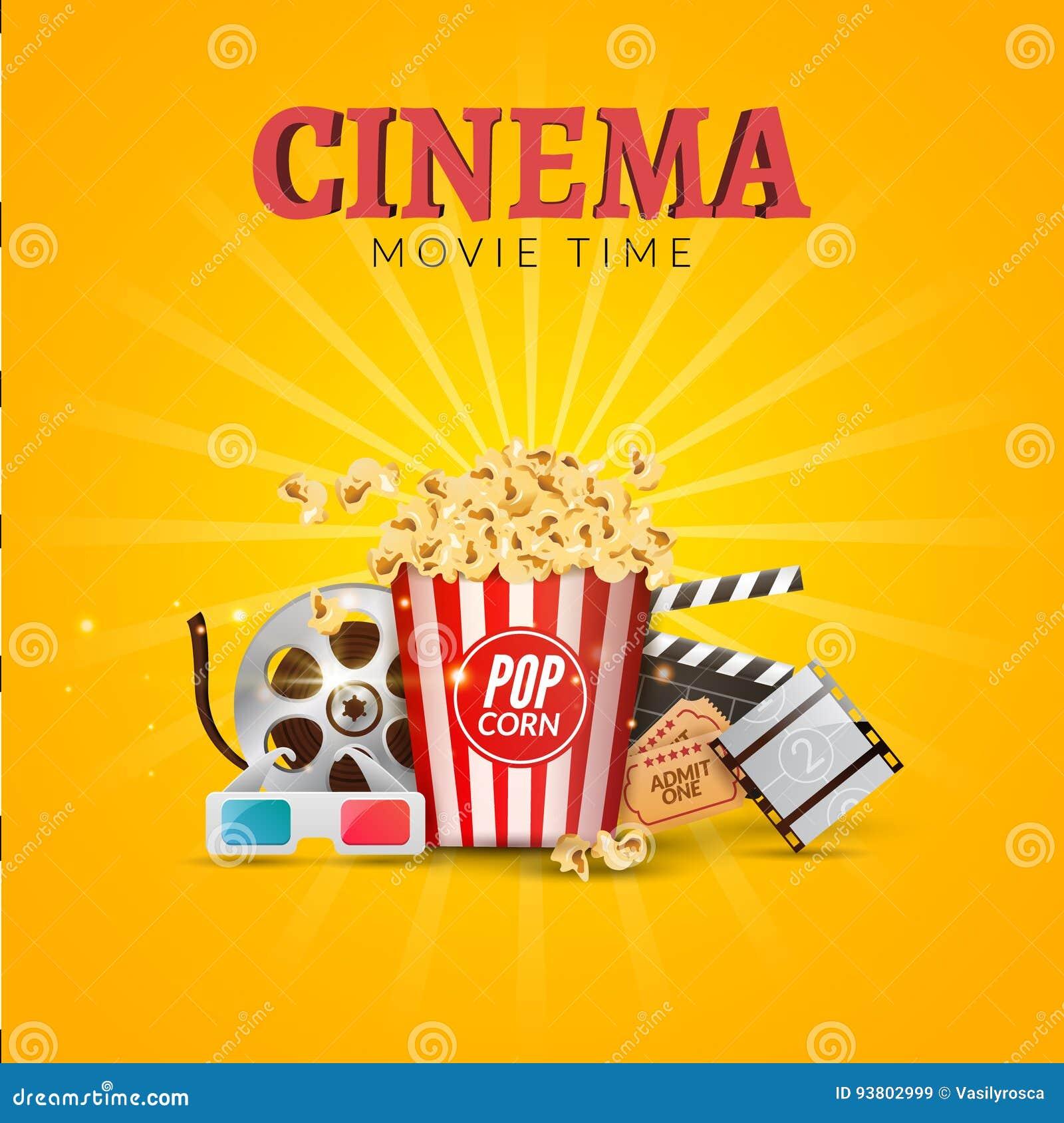 cinema movie vector poster design template popcorn filmstrip