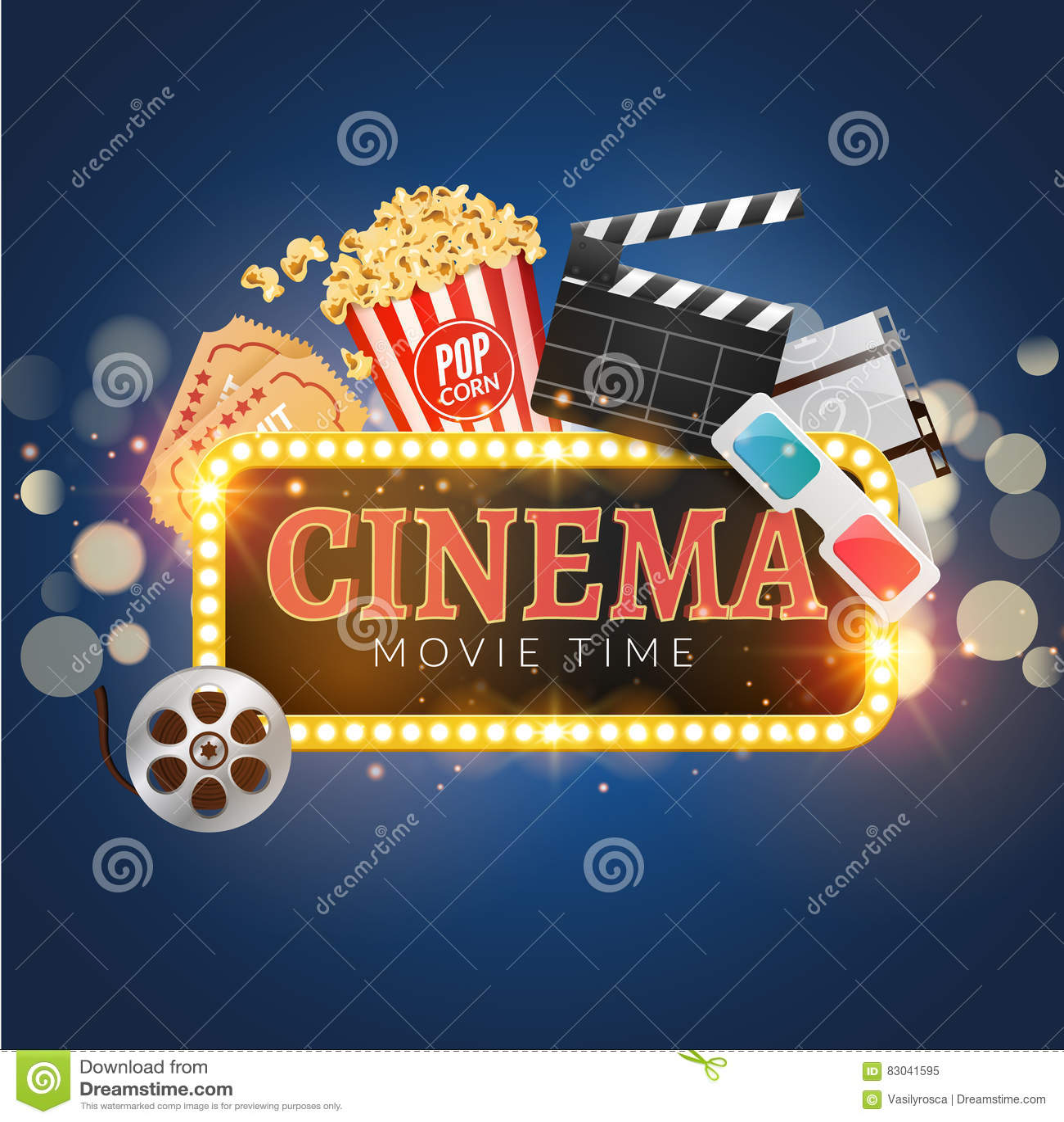 cinema movie vector poster design template  popcorn