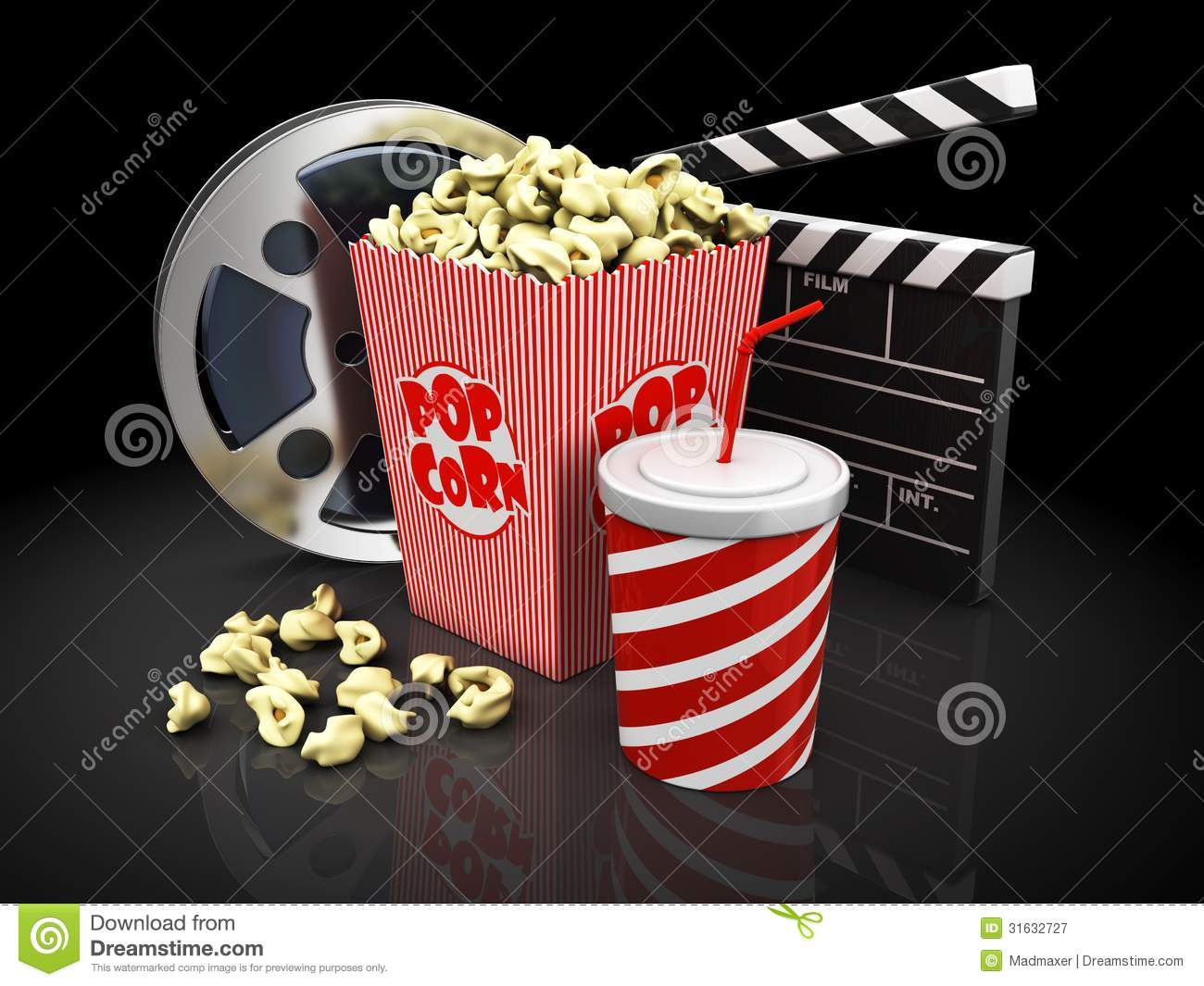 Cinema Objects Over Black Background Royalty Free Stock ...