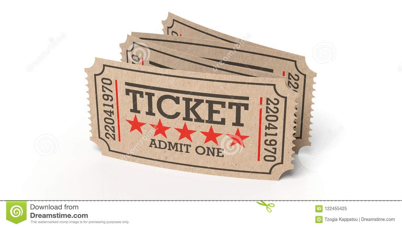 Cinema Old Type Tickets Beige Isolated Recycle On A White Background 3d Illustration Stock Illustration Illustration Of Pass Entertainment 122455425