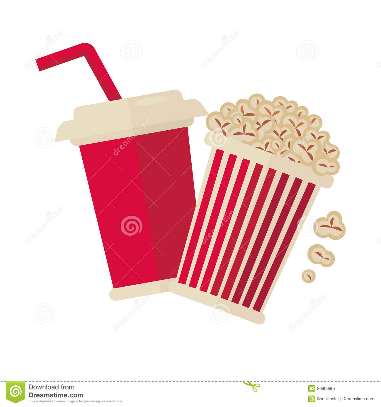 Cinema Popcorn And Soda Drink For Movie Vector Flat Icon ...